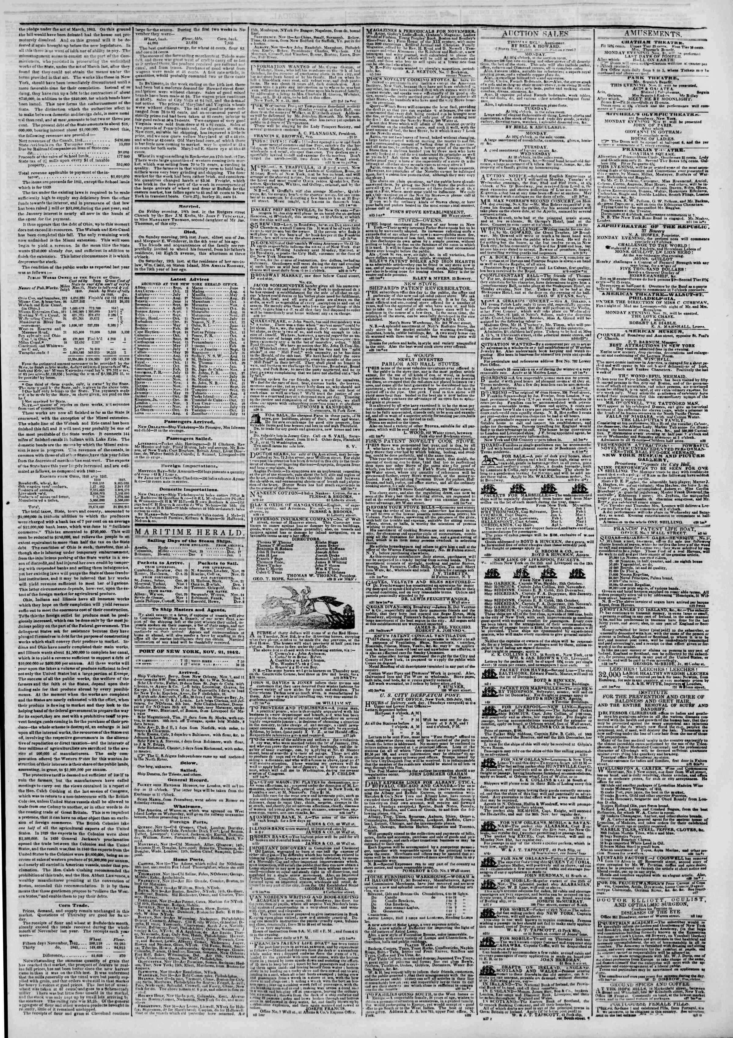 November 21, 1842 Tarihli The New York Herald Gazetesi Sayfa 3