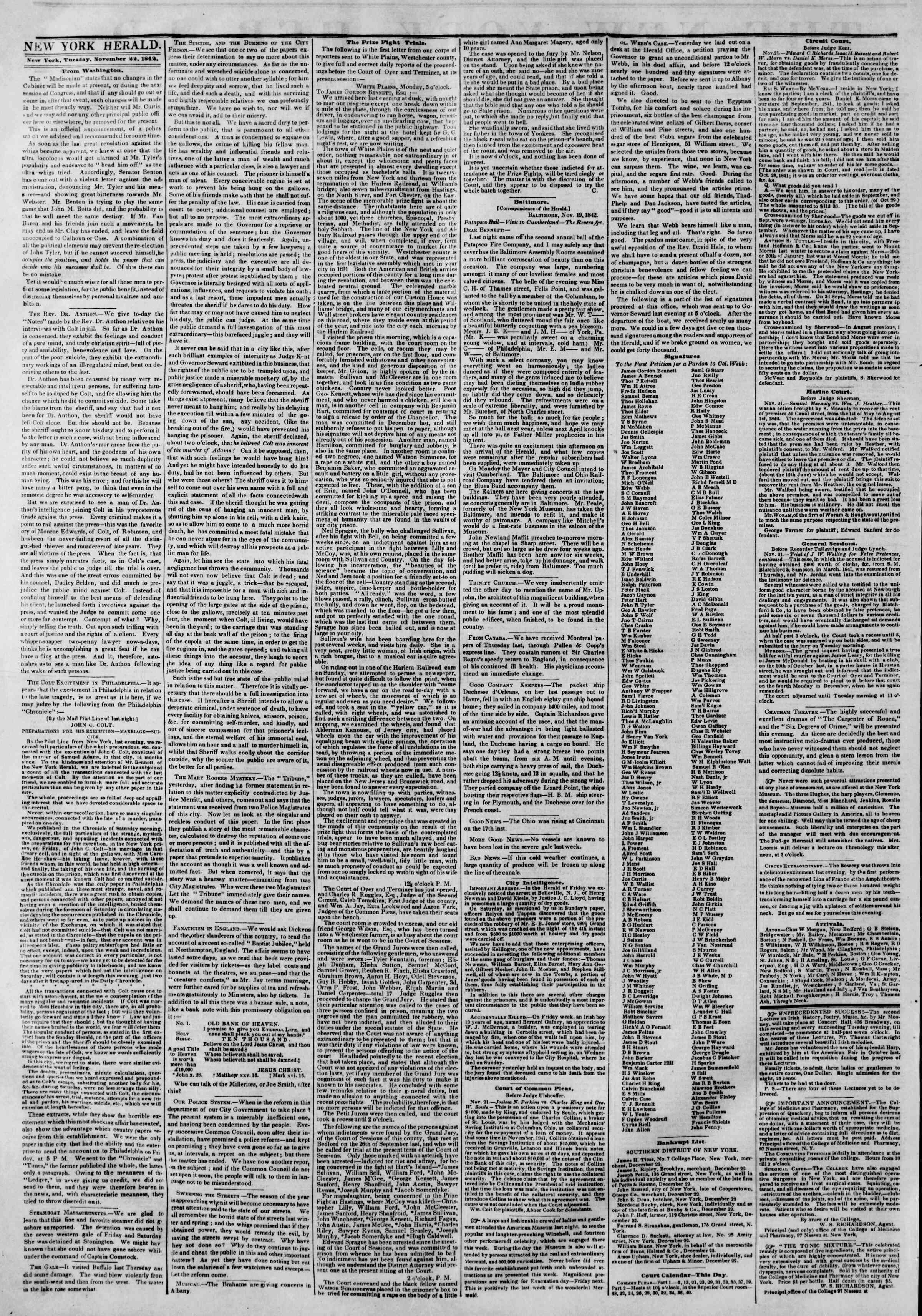 Newspaper of The New York Herald dated November 22, 1842 Page 2