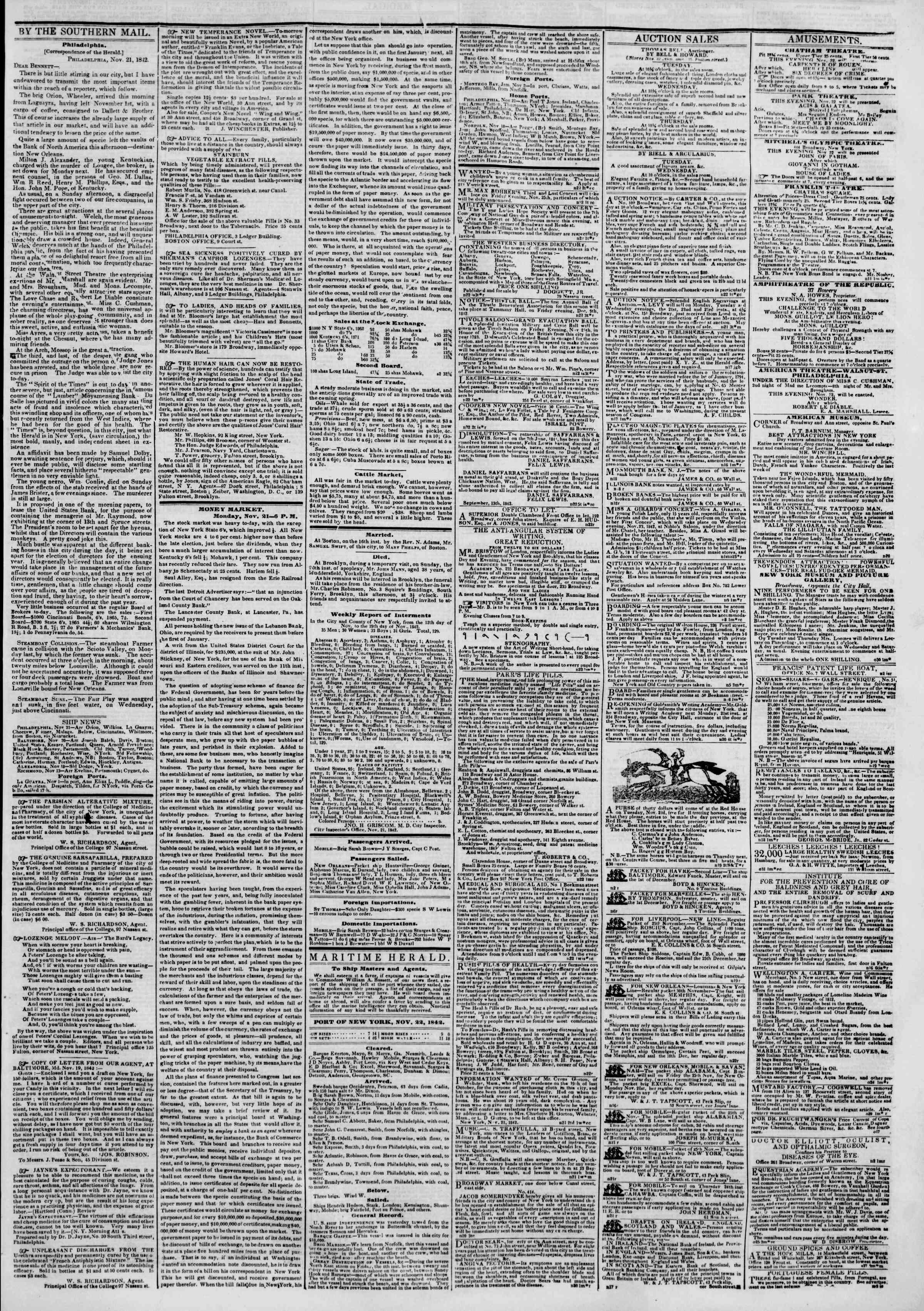 22 Kasım 1842 tarihli The New York Herald Gazetesi Sayfa 3