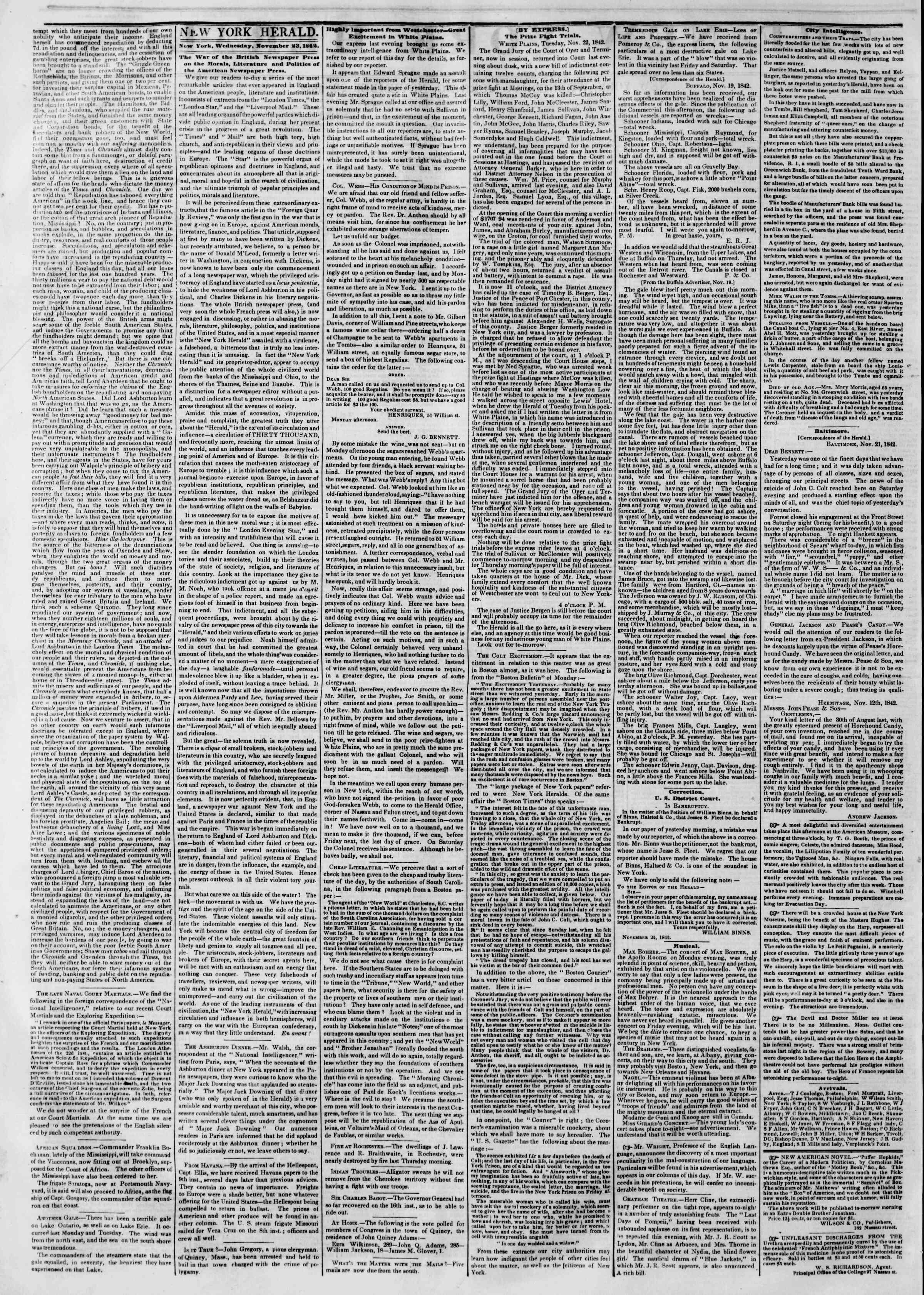 November 23, 1842 Tarihli The New York Herald Gazetesi Sayfa 2