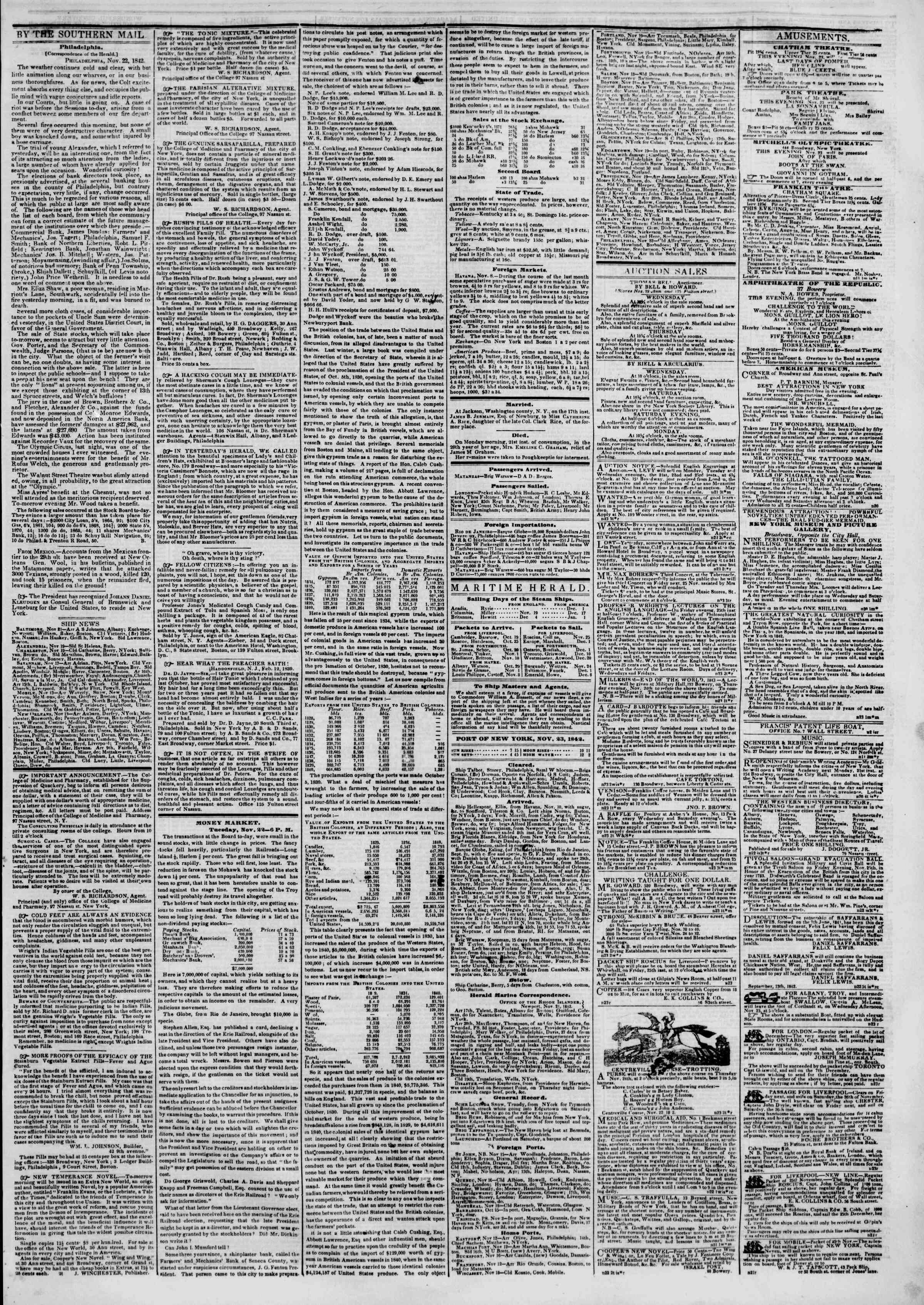 November 23, 1842 Tarihli The New York Herald Gazetesi Sayfa 3