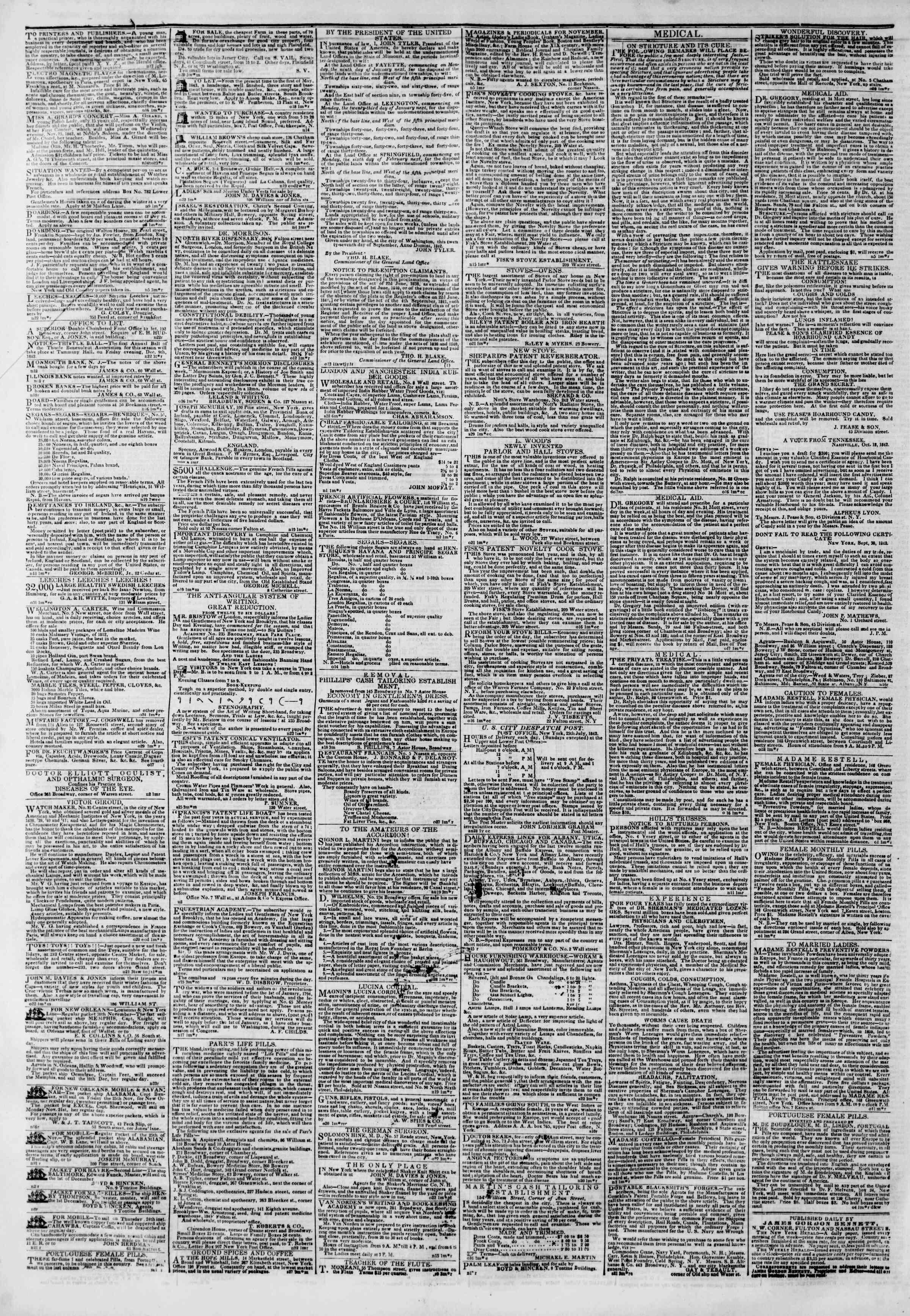November 23, 1842 Tarihli The New York Herald Gazetesi Sayfa 4