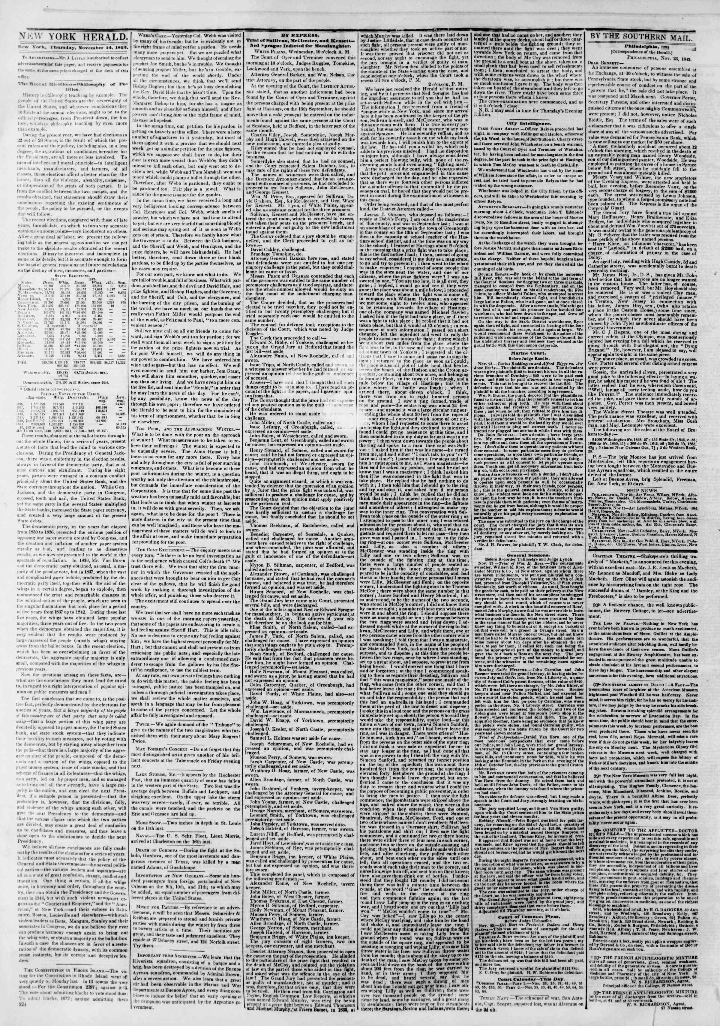 November 24, 1842 Tarihli The New York Herald Gazetesi Sayfa 2
