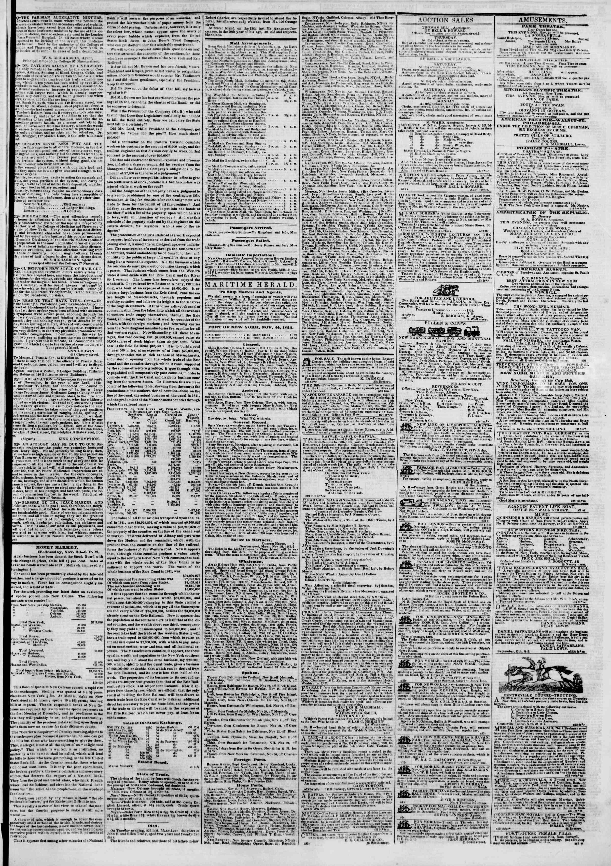 November 24, 1842 Tarihli The New York Herald Gazetesi Sayfa 3