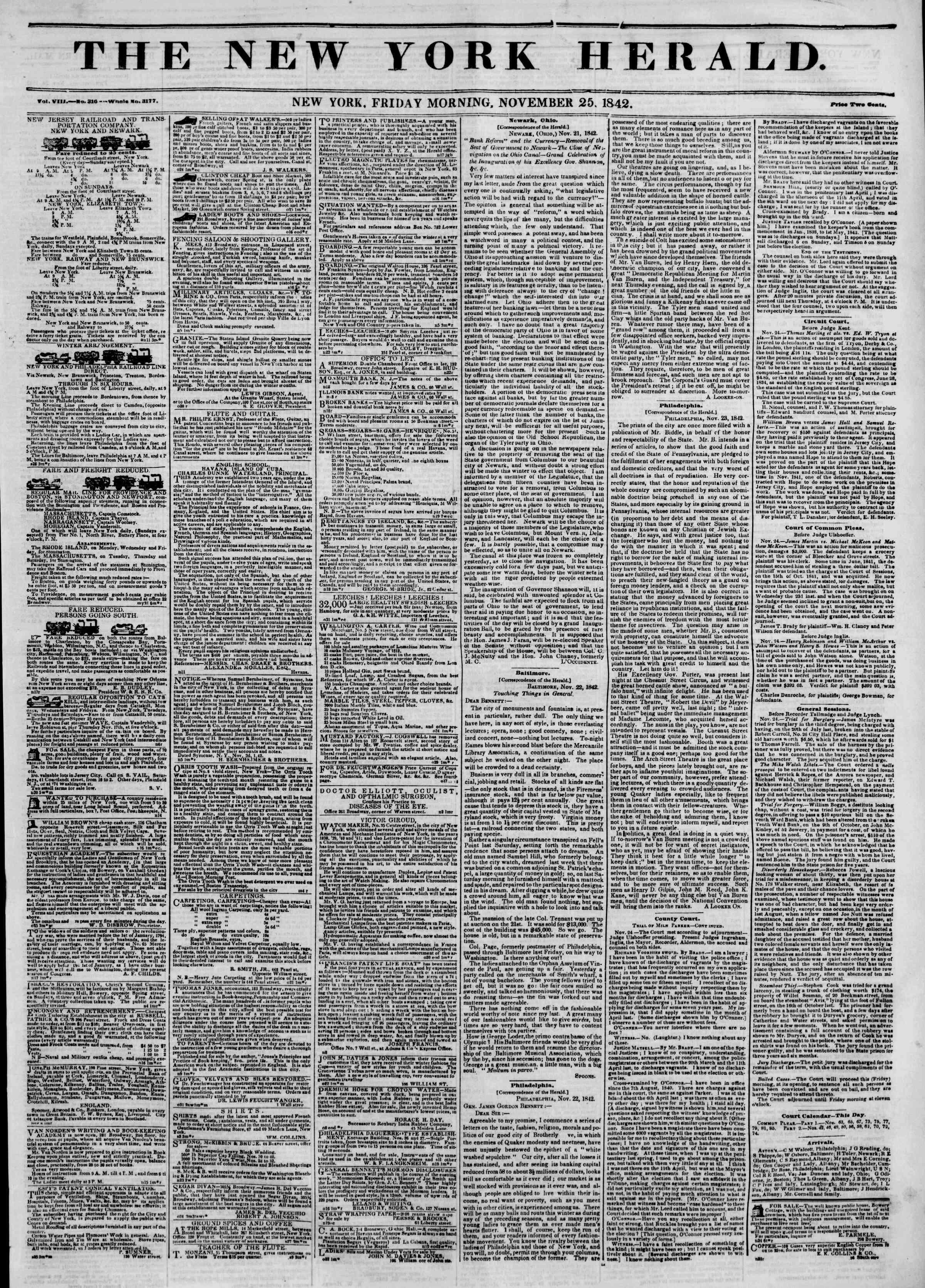 November 25, 1842 Tarihli The New York Herald Gazetesi Sayfa 1