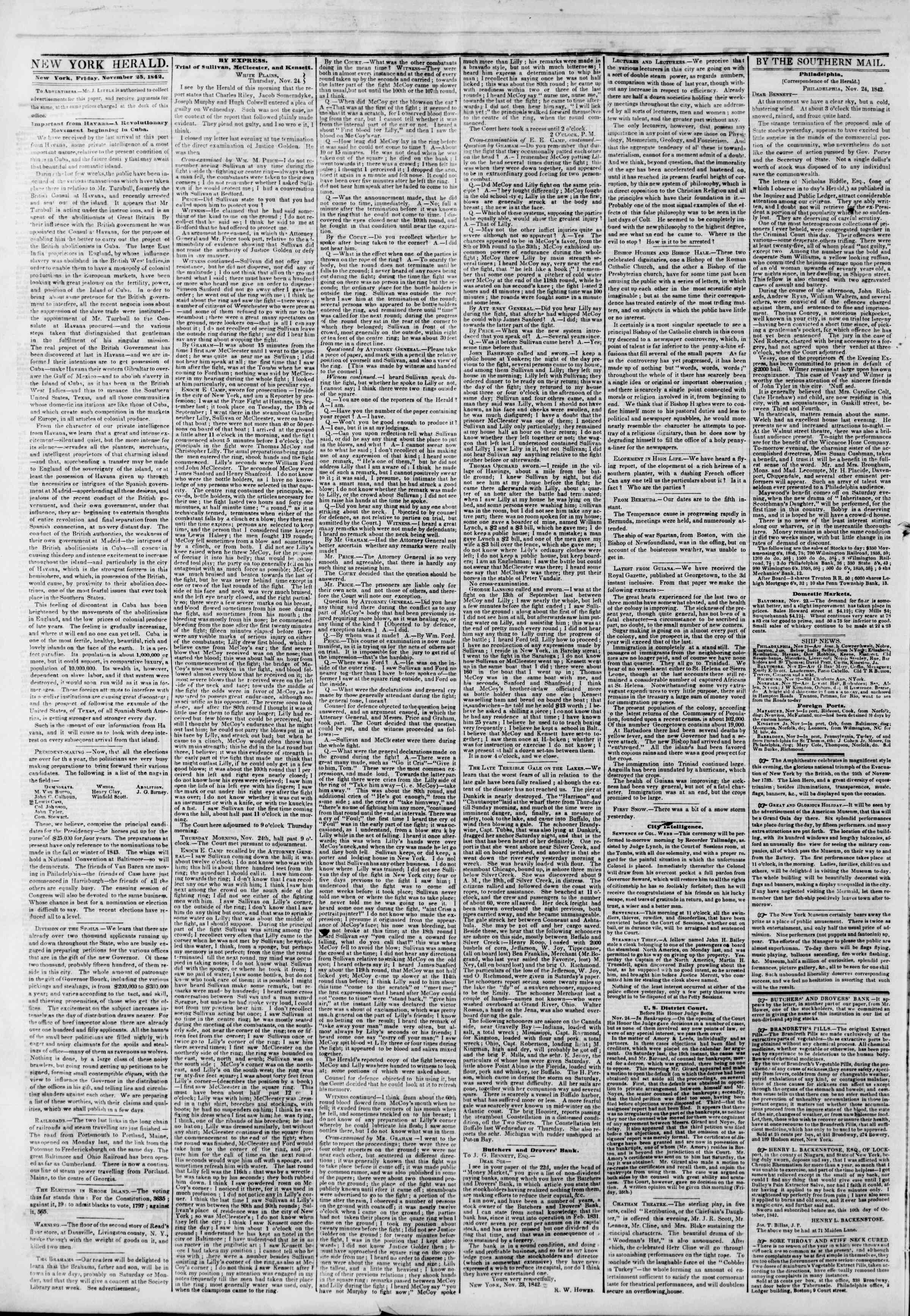 Newspaper of The New York Herald dated November 25, 1842 Page 2