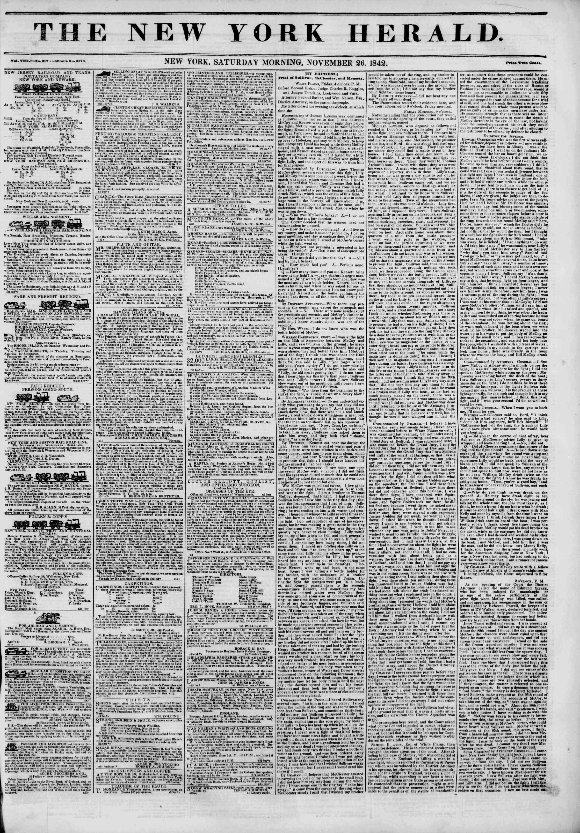 November 26, 1842 Tarihli The New York Herald Gazetesi Sayfa 1