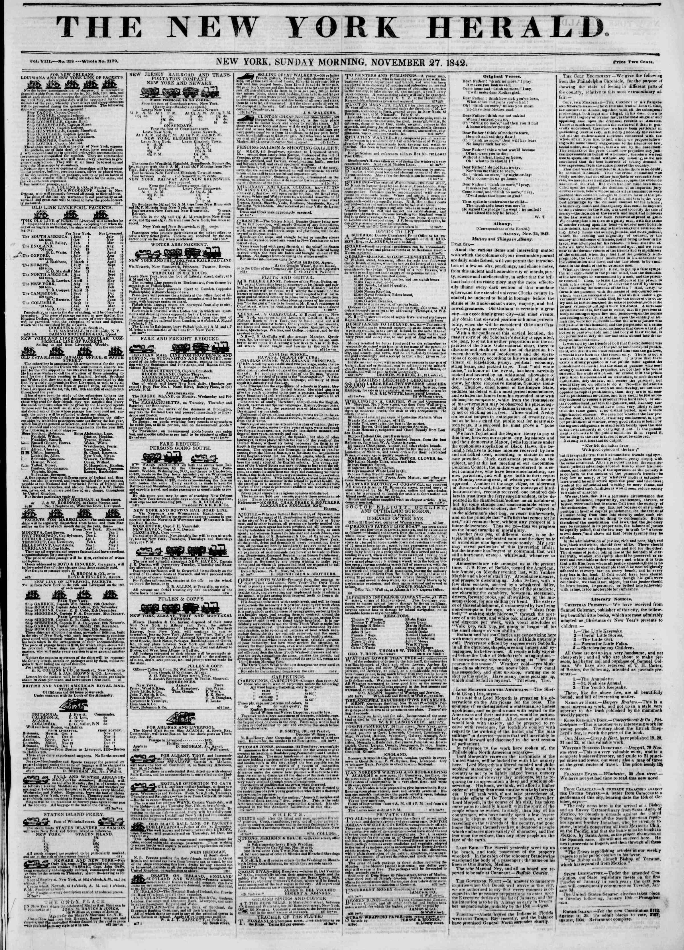 November 27, 1842 Tarihli The New York Herald Gazetesi Sayfa 1