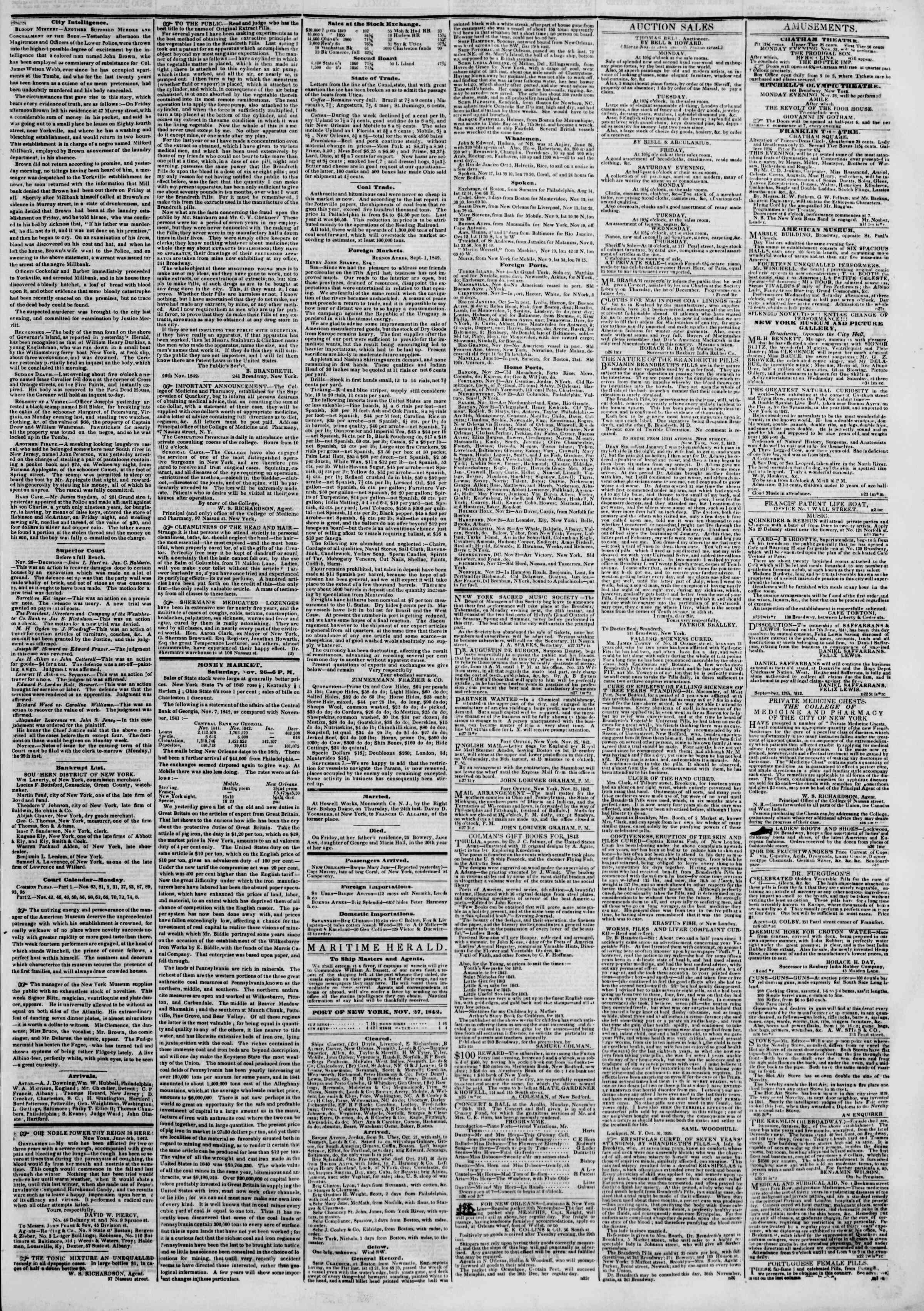 Newspaper of The New York Herald dated November 27, 1842 Page 3