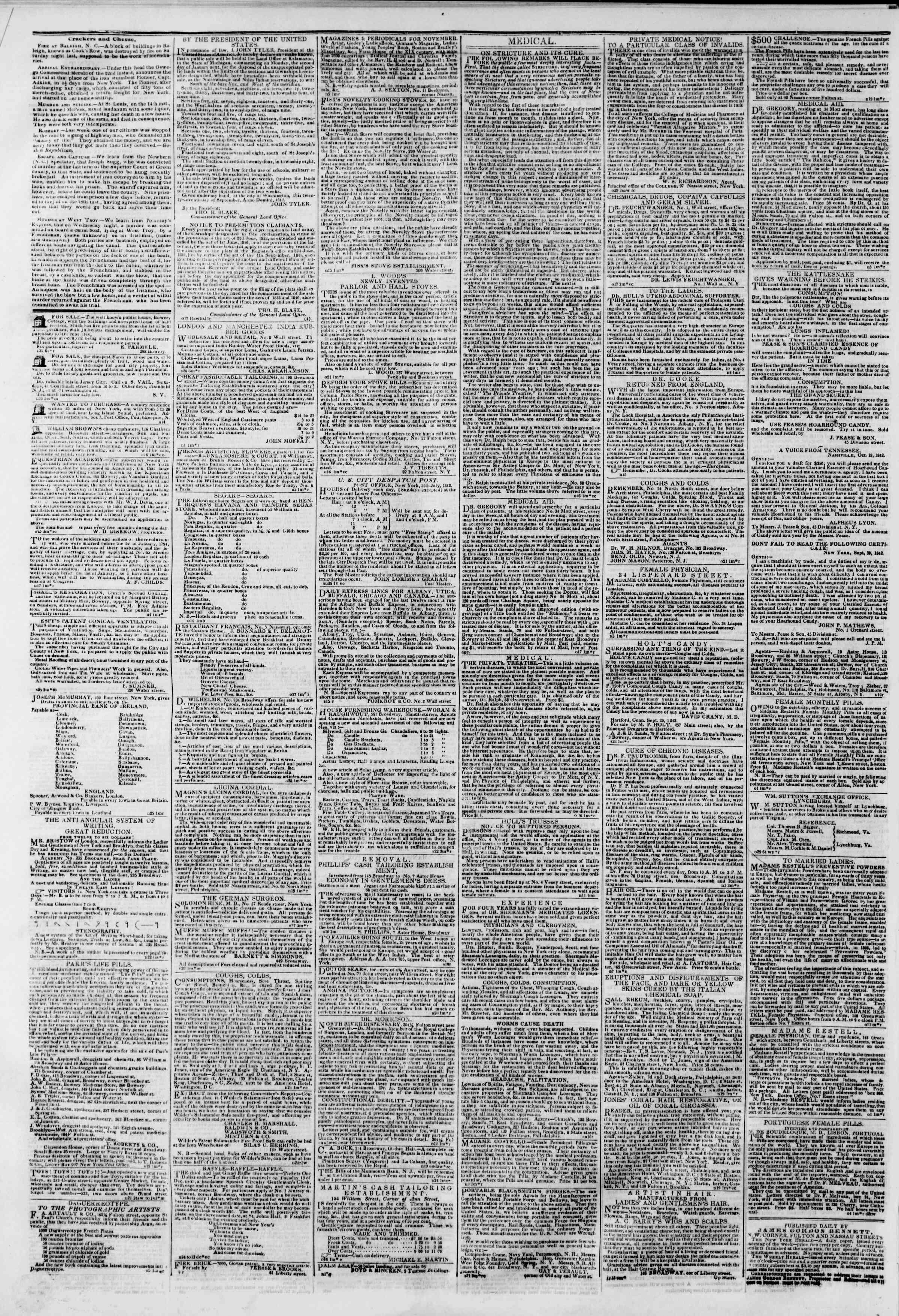November 27, 1842 Tarihli The New York Herald Gazetesi Sayfa 4