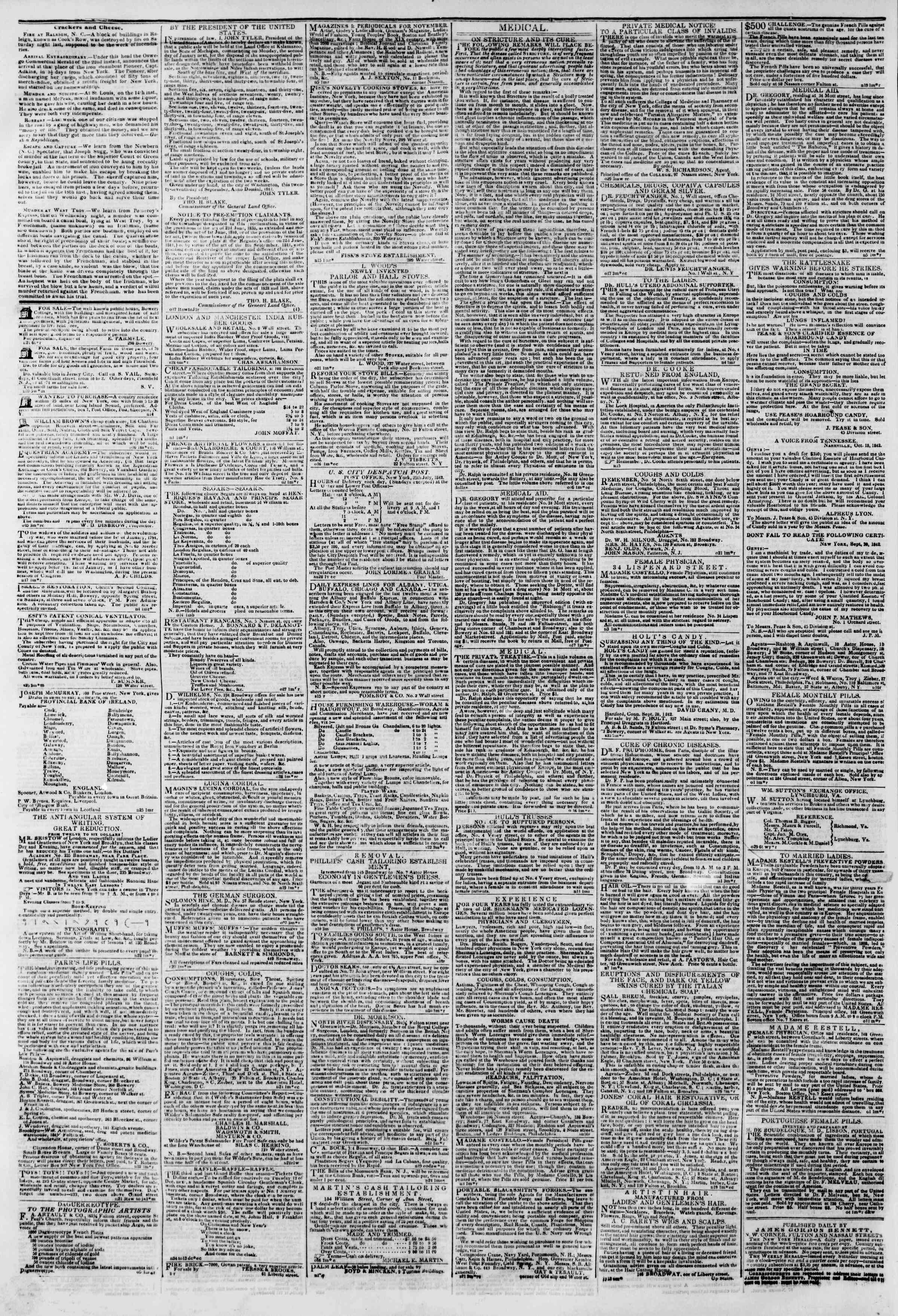 Newspaper of The New York Herald dated November 27, 1842 Page 5