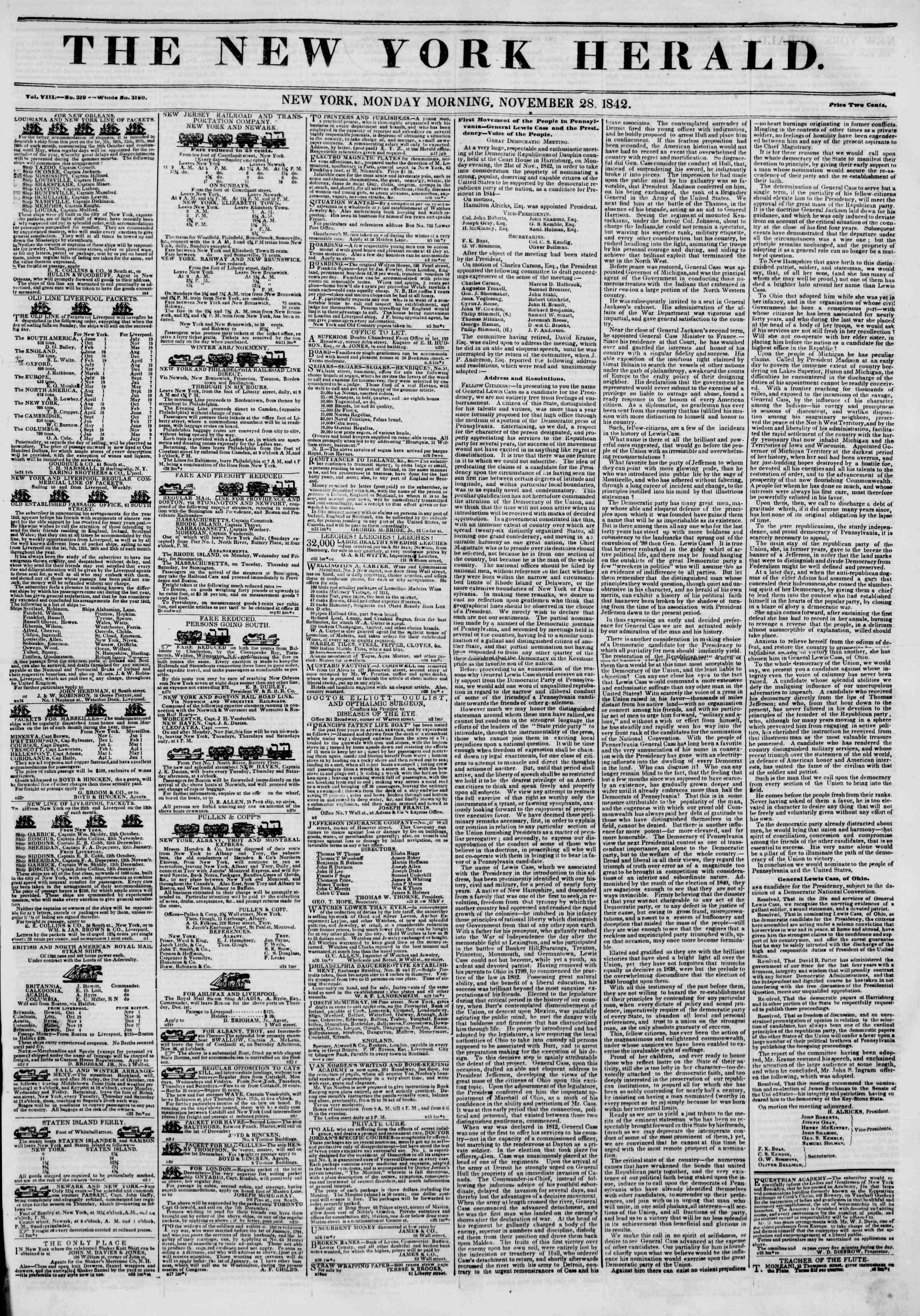 November 28, 1842 Tarihli The New York Herald Gazetesi Sayfa 1