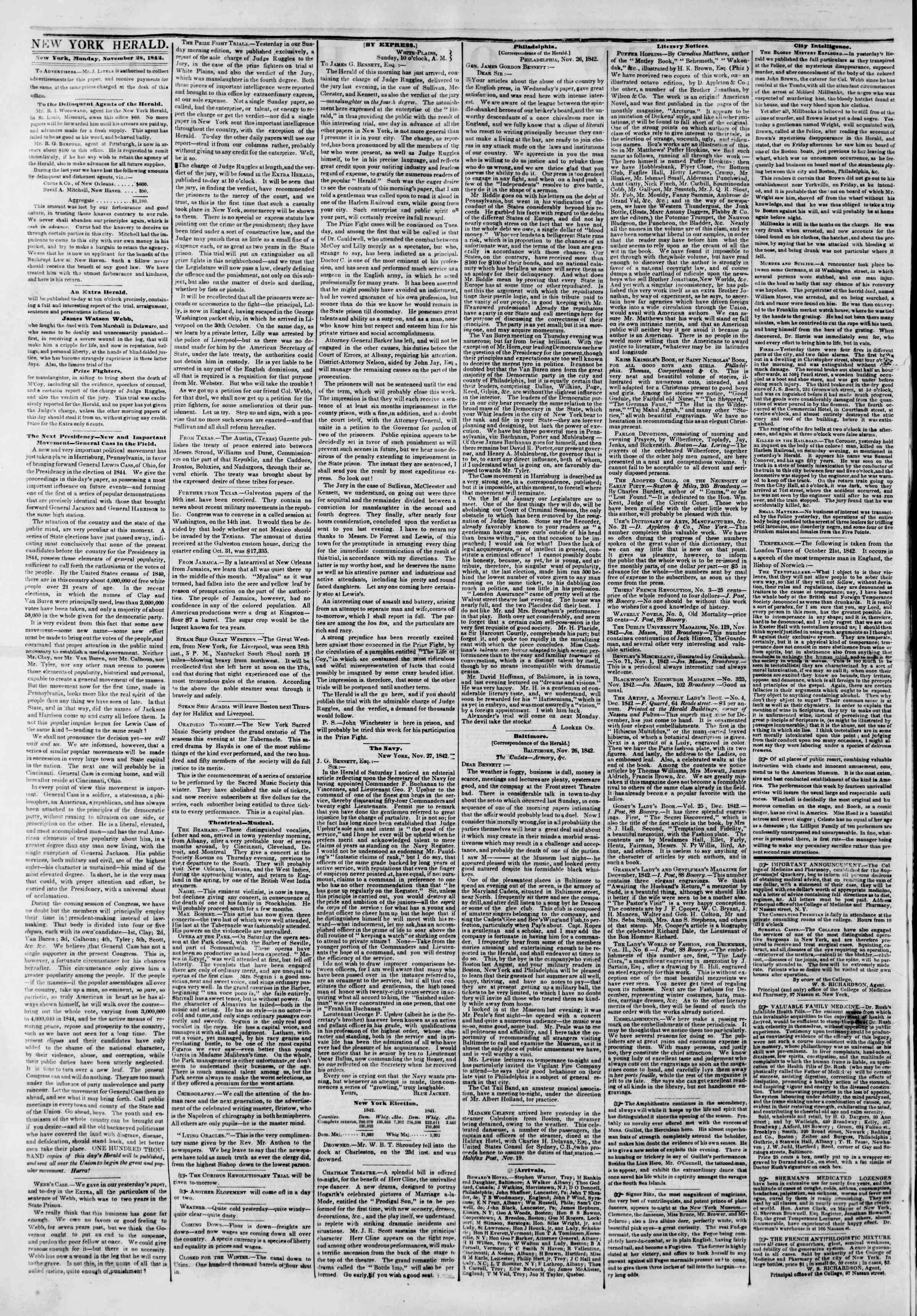 Newspaper of The New York Herald dated November 28, 1842 Page 3