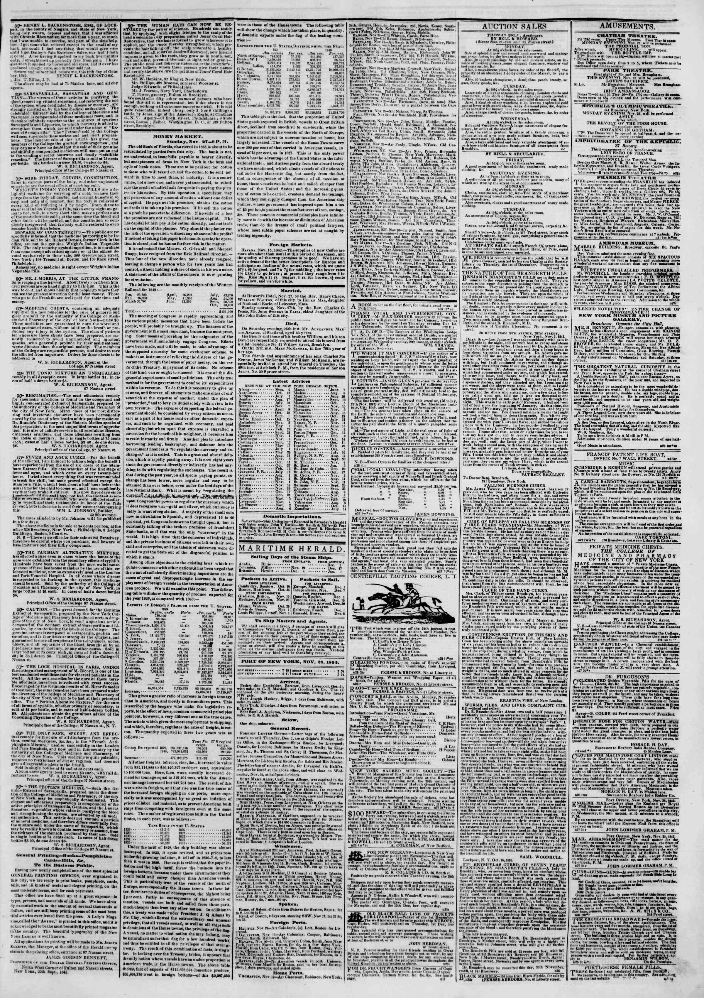 November 28, 1842 Tarihli The New York Herald Gazetesi Sayfa 4