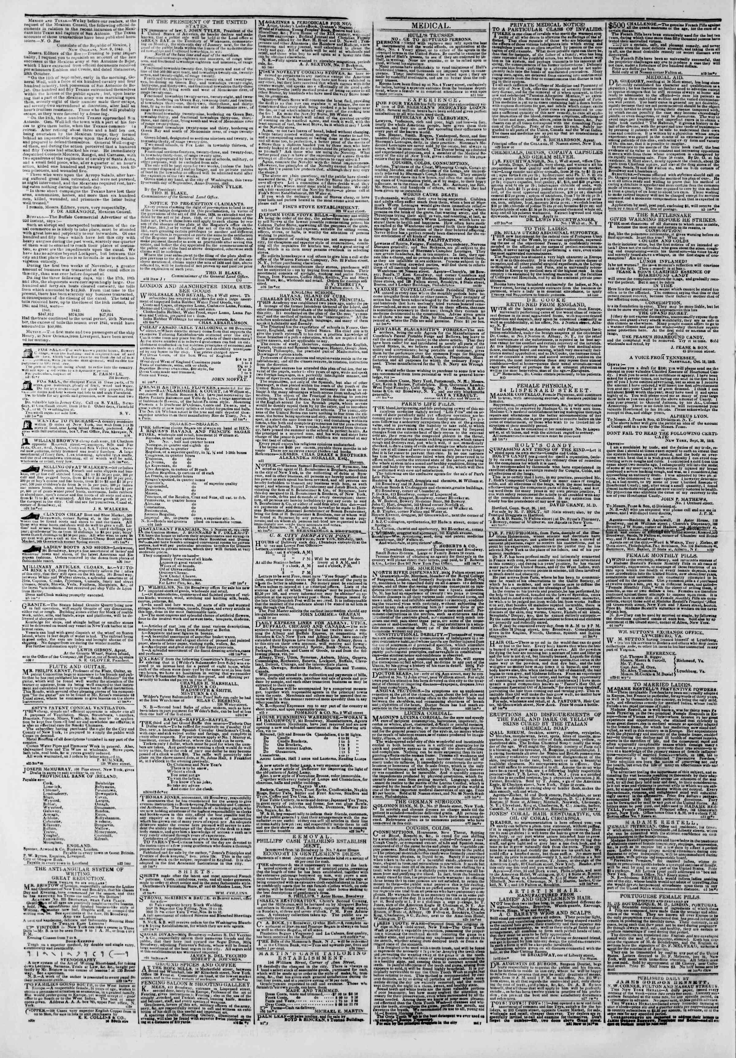 November 28, 1842 Tarihli The New York Herald Gazetesi Sayfa 5