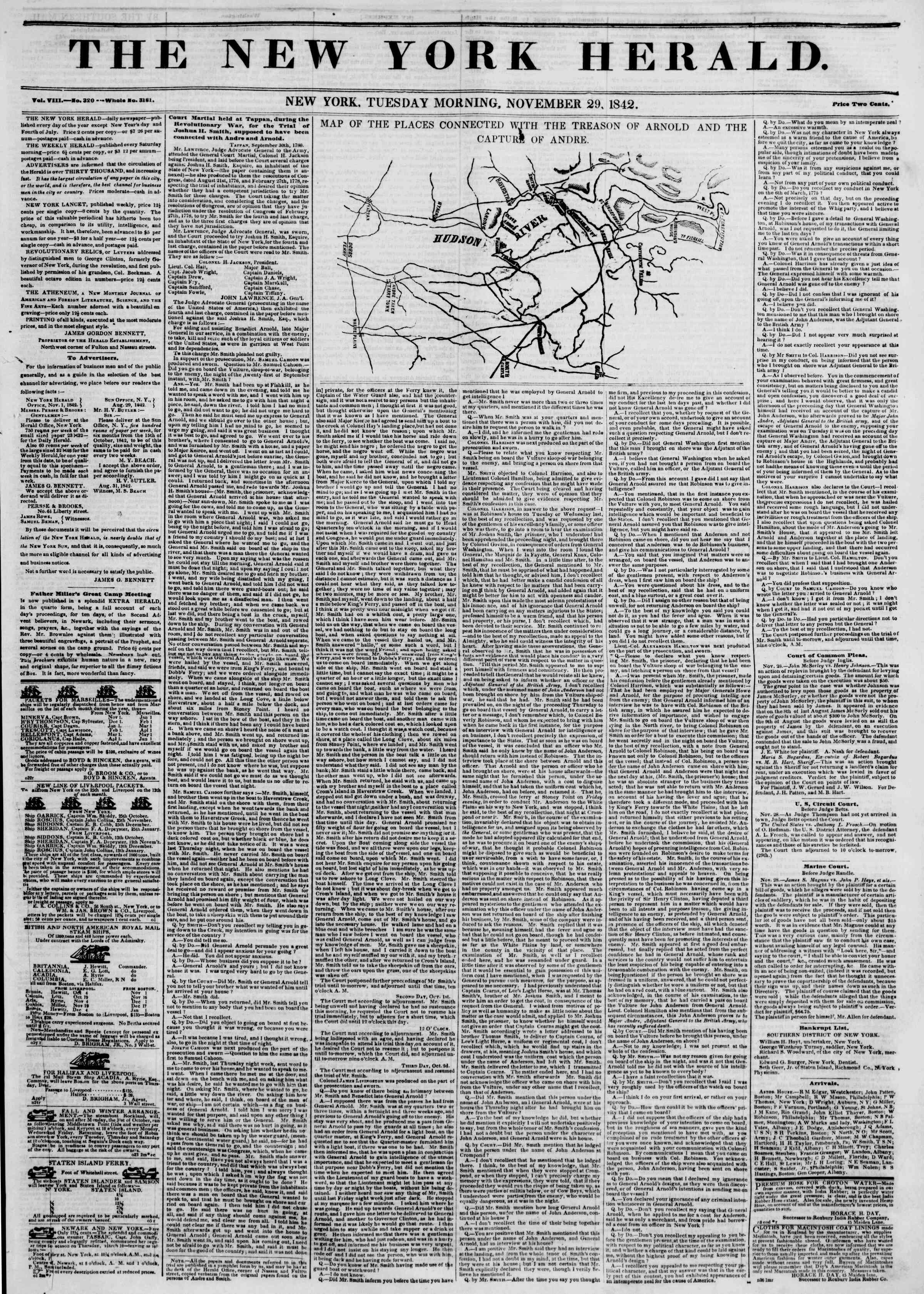 Newspaper of The New York Herald dated November 29, 1842 Page 1