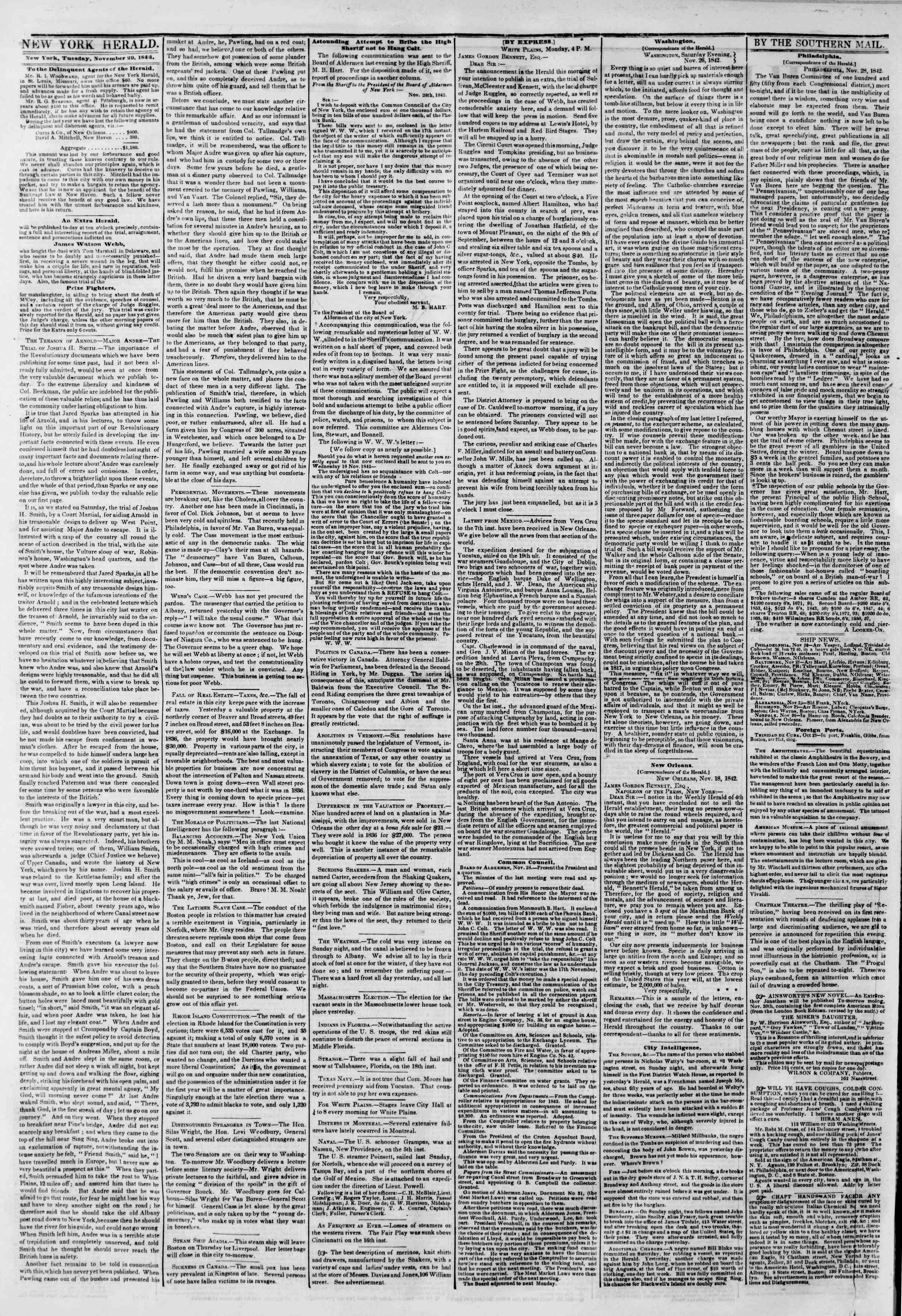 Newspaper of The New York Herald dated November 29, 1842 Page 2