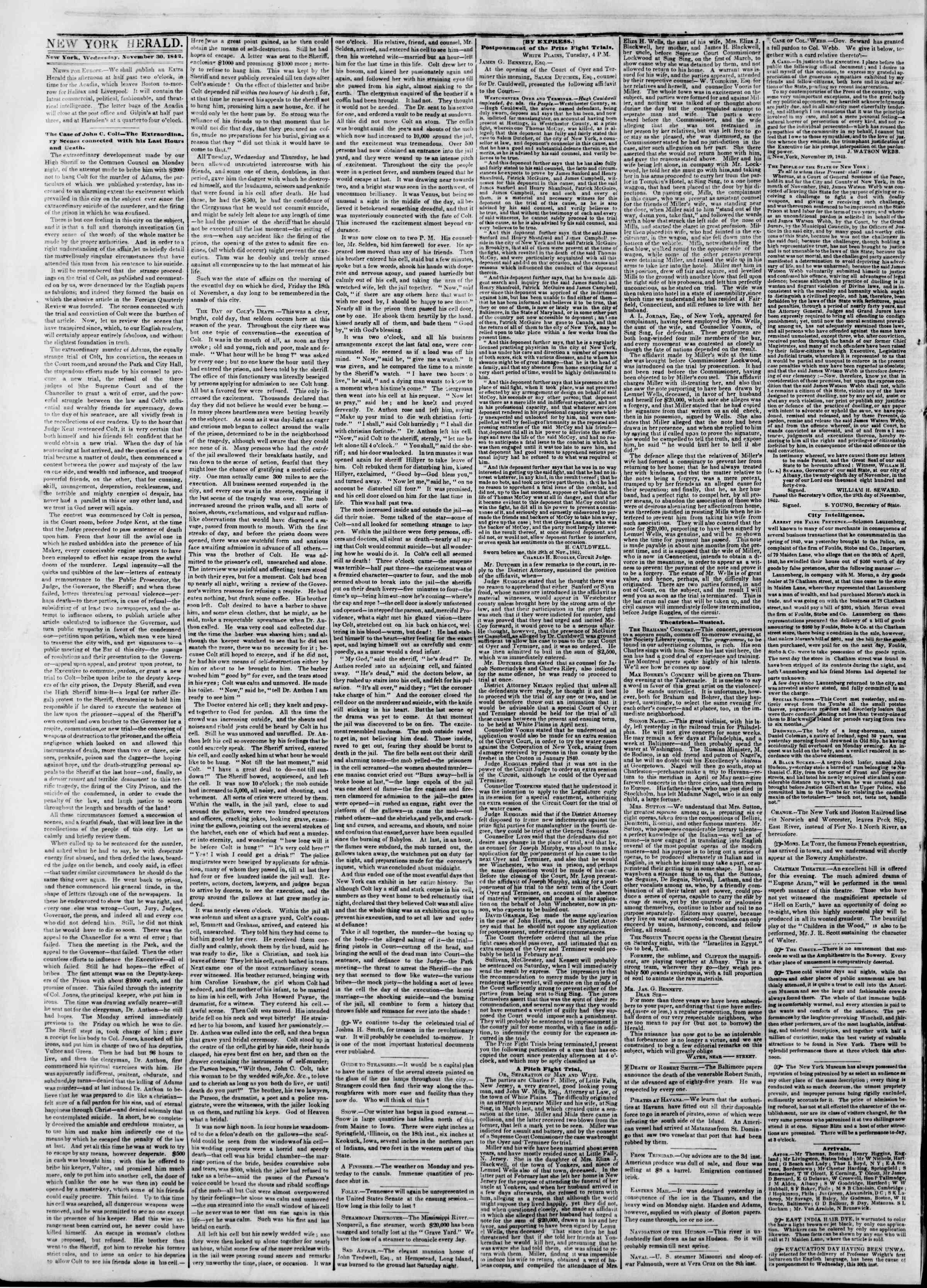 Newspaper of The New York Herald dated November 30, 1842 Page 2