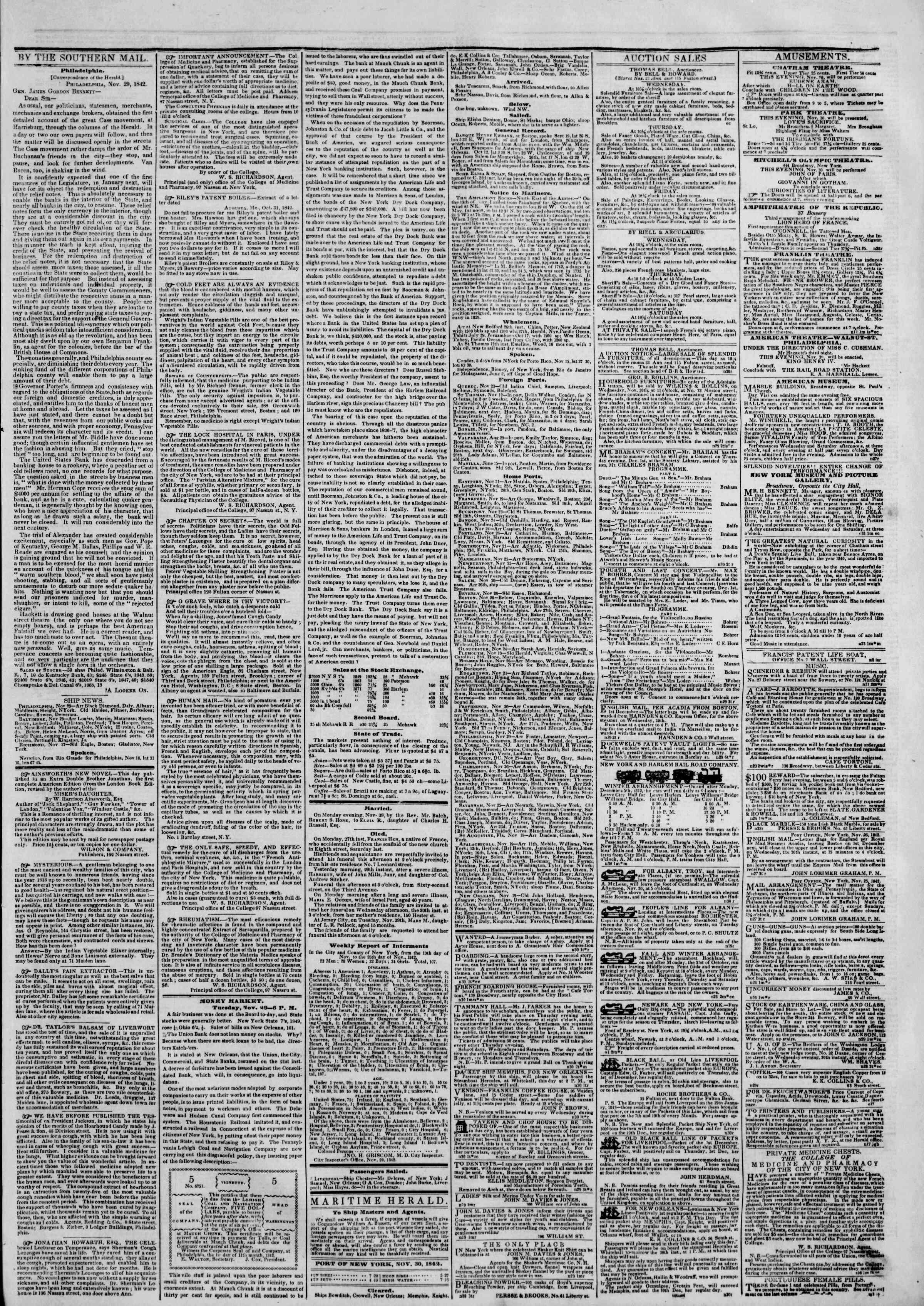 November 30, 1842 Tarihli The New York Herald Gazetesi Sayfa 3