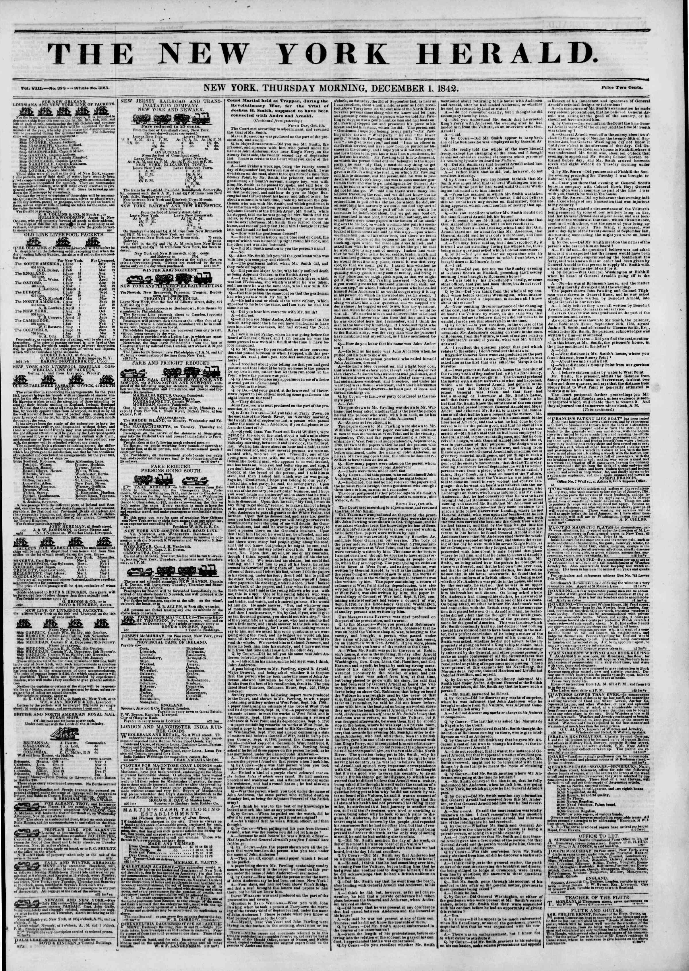 Newspaper of The New York Herald dated December 1, 1842 Page 1