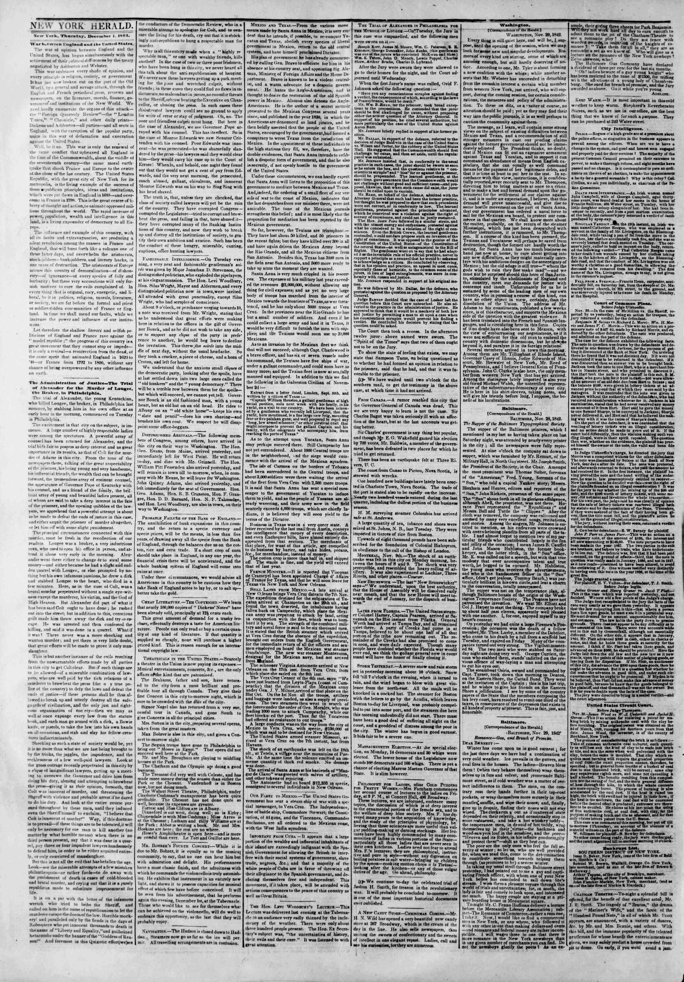 Newspaper of The New York Herald dated December 1, 1842 Page 2