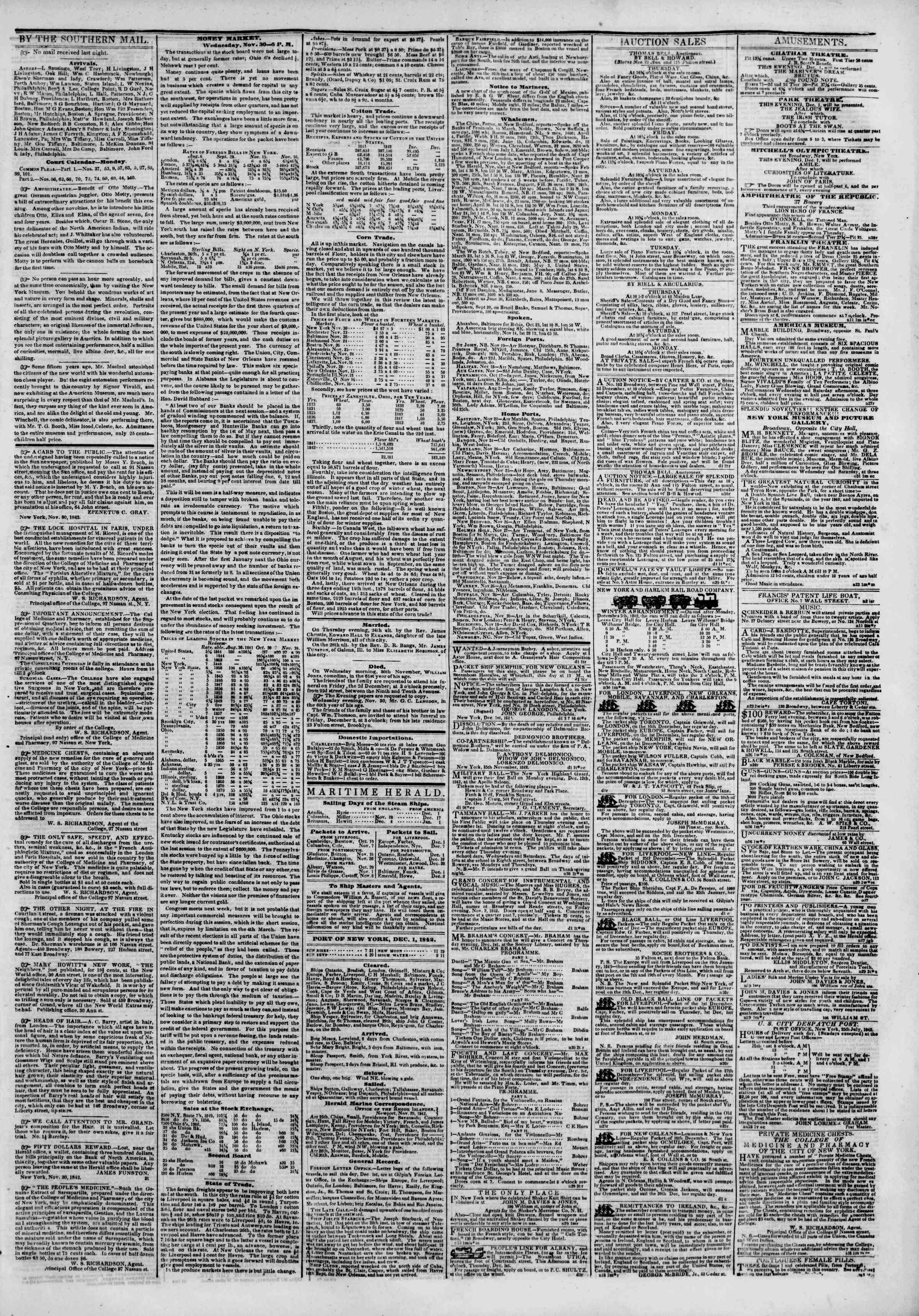 December 1, 1842 Tarihli The New York Herald Gazetesi Sayfa 3