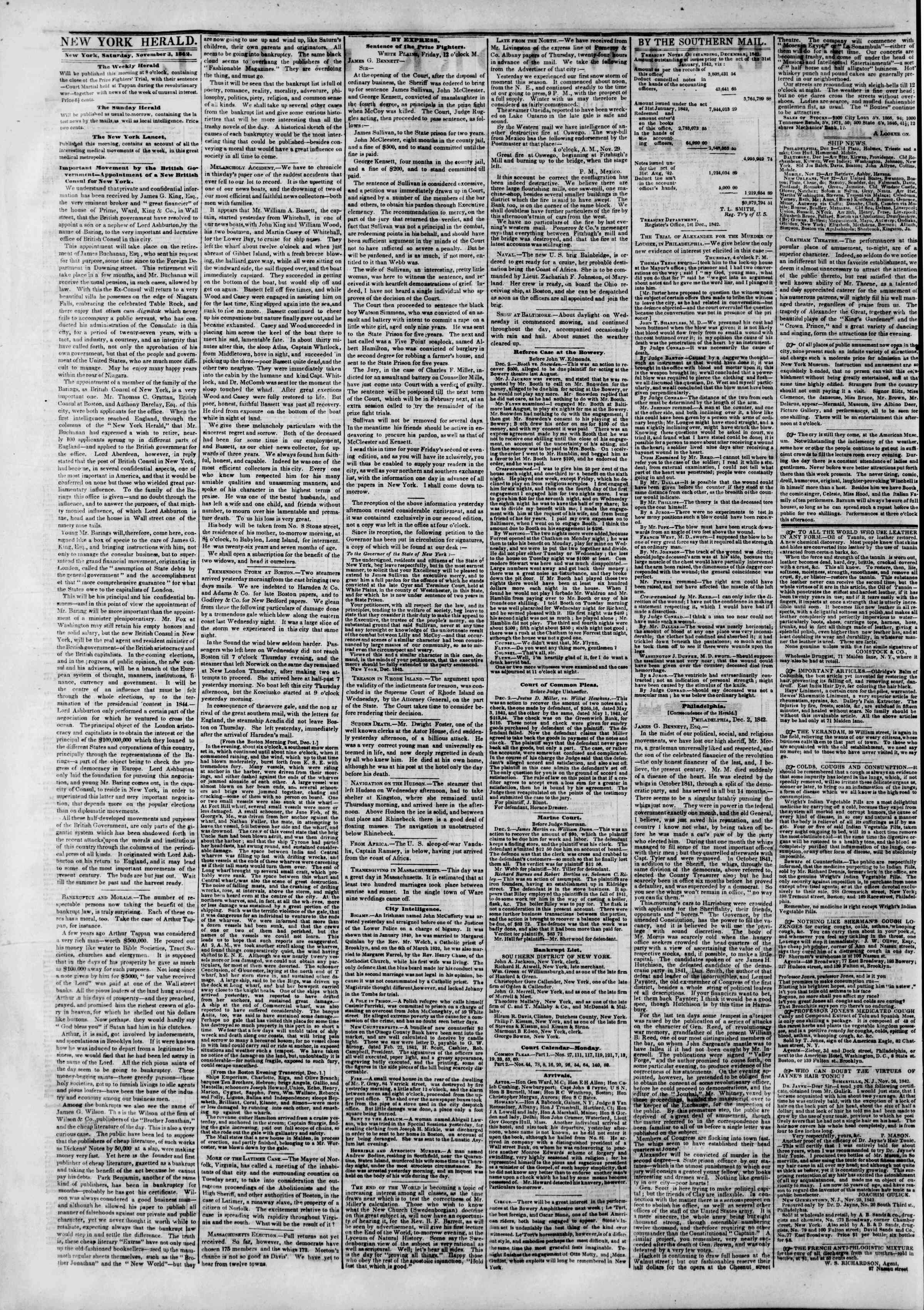 Newspaper of The New York Herald dated December 3, 1842 Page 2