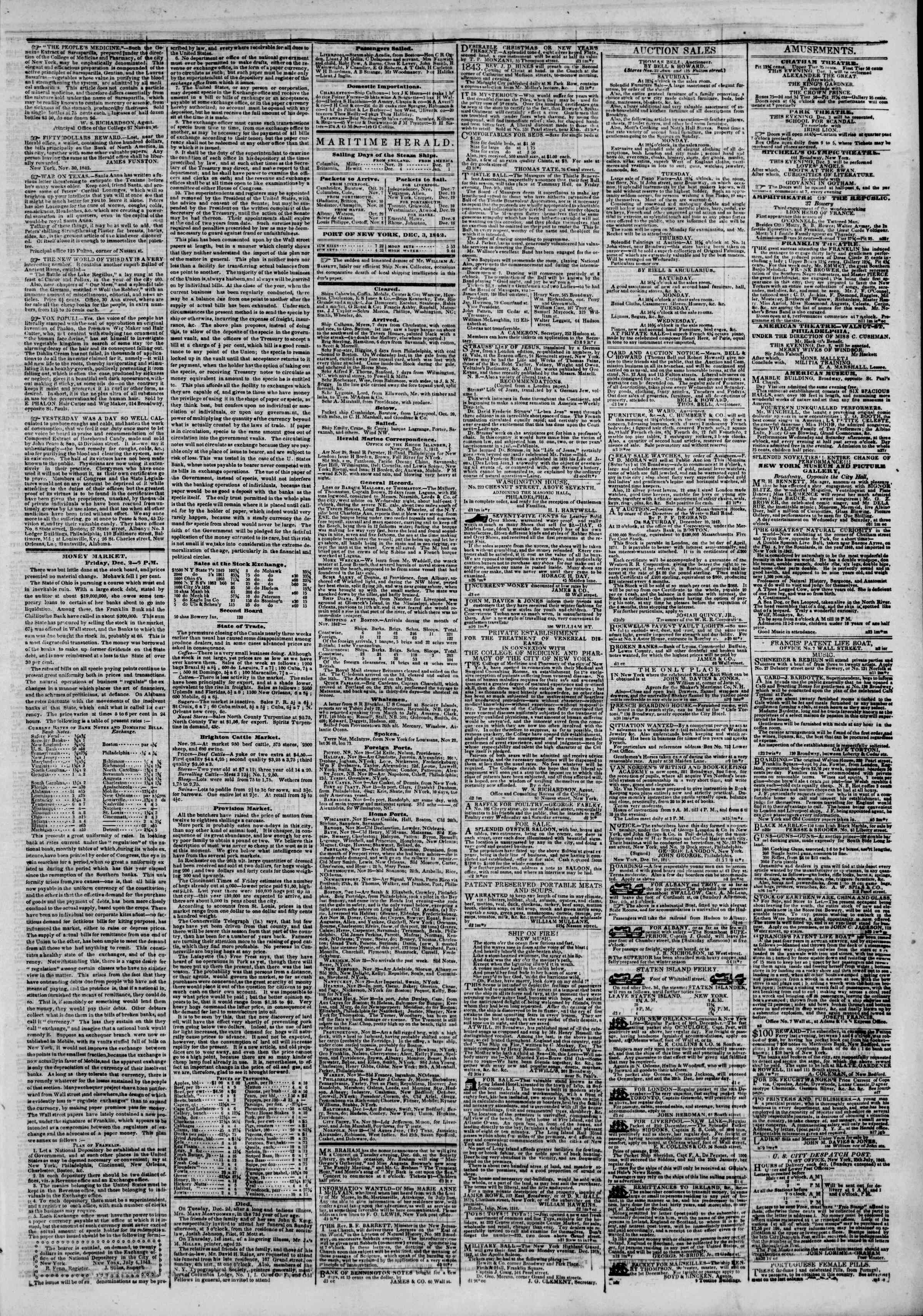 Newspaper of The New York Herald dated December 3, 1842 Page 3
