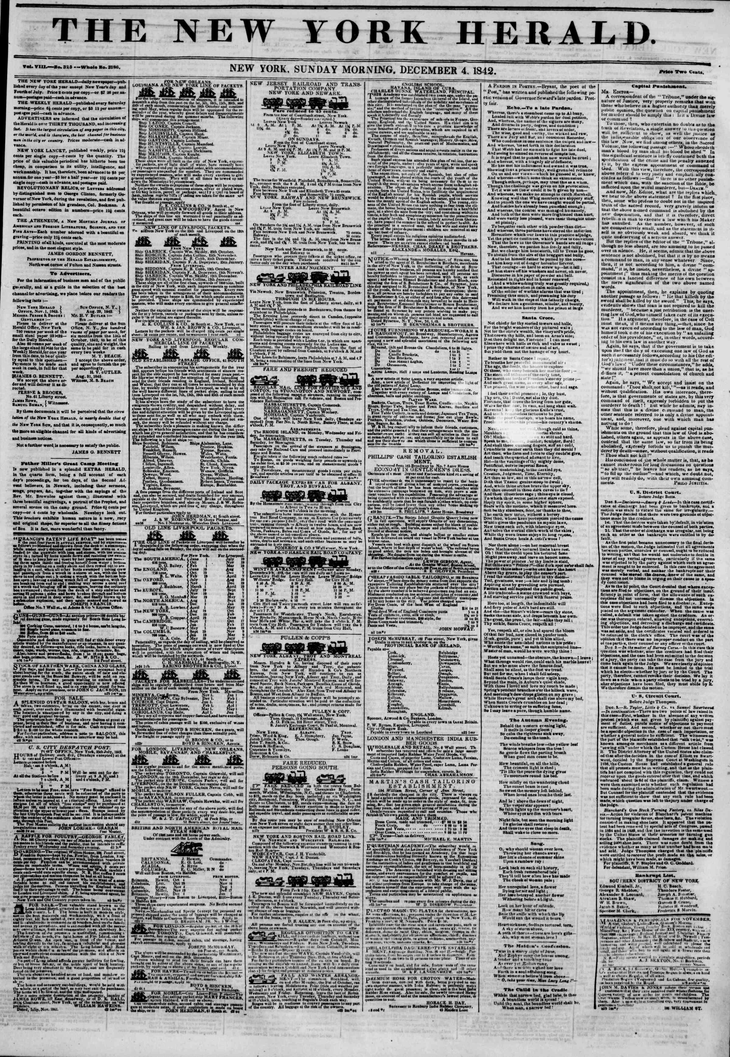 December 4, 1842 Tarihli The New York Herald Gazetesi Sayfa 1
