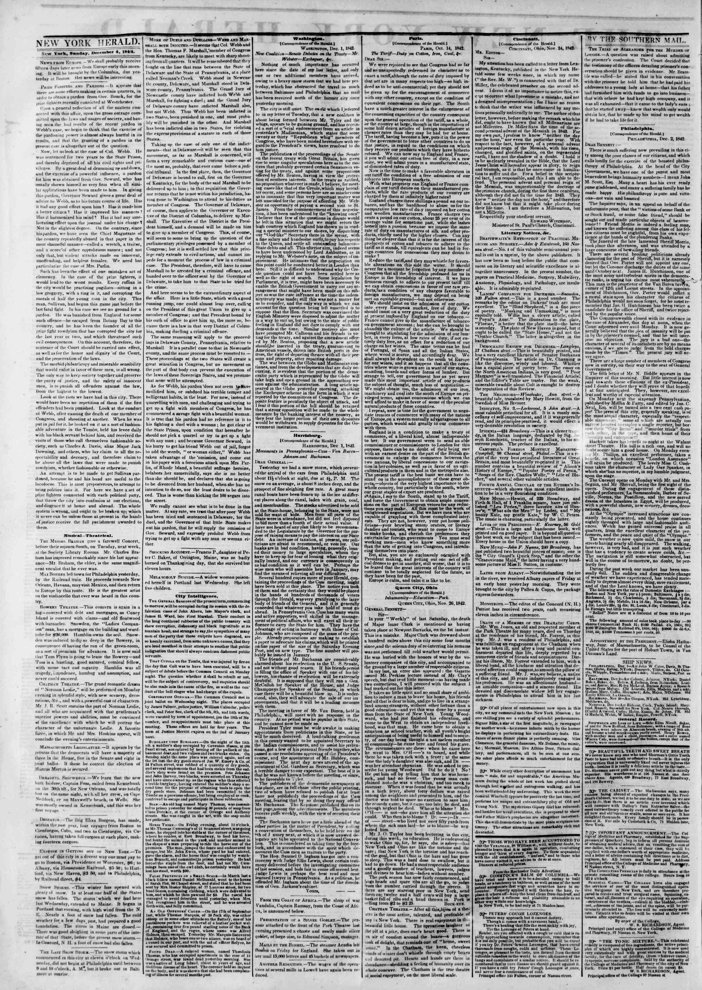 Newspaper of The New York Herald dated December 4, 1842 Page 2