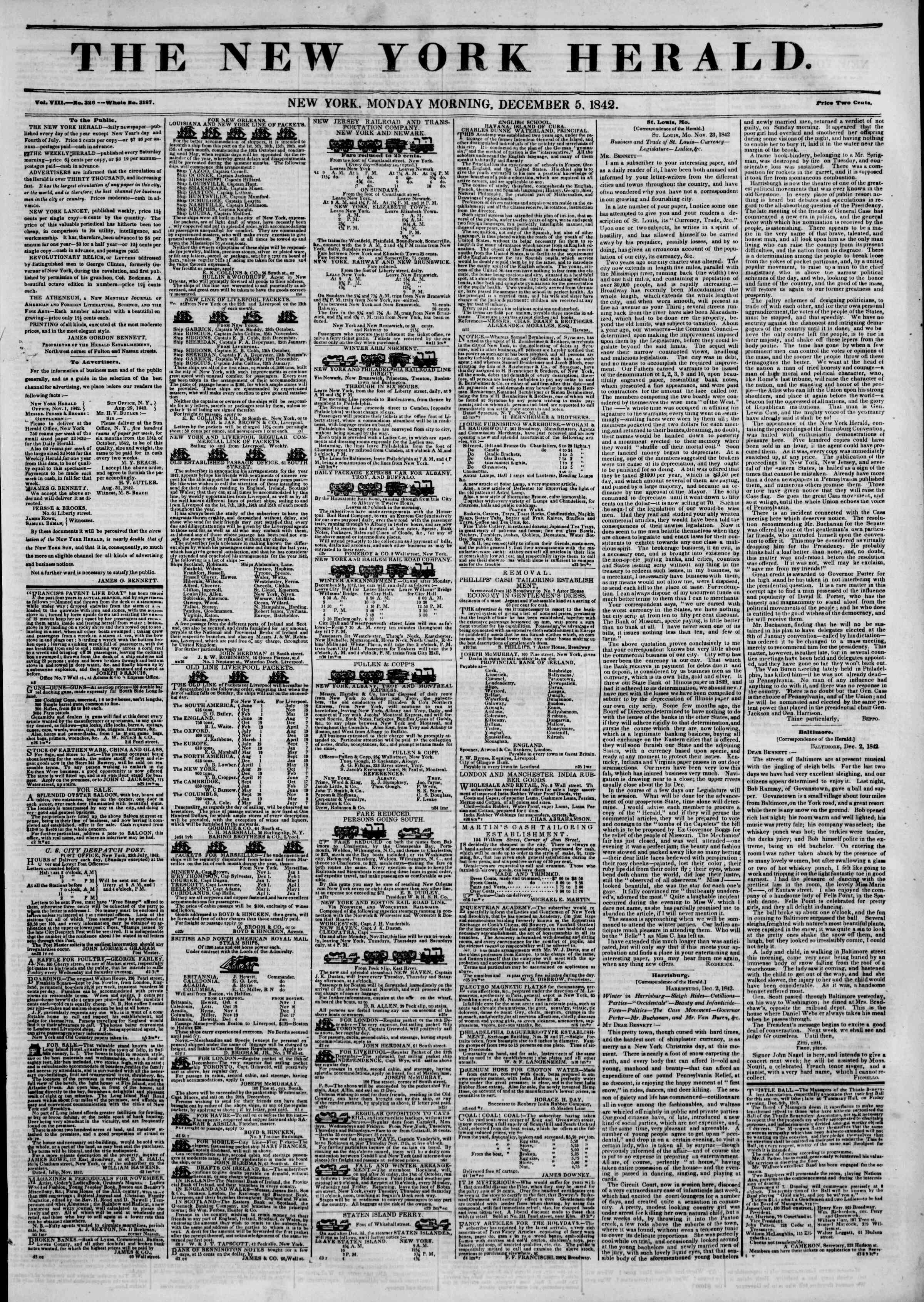 December 5, 1842 Tarihli The New York Herald Gazetesi Sayfa 1