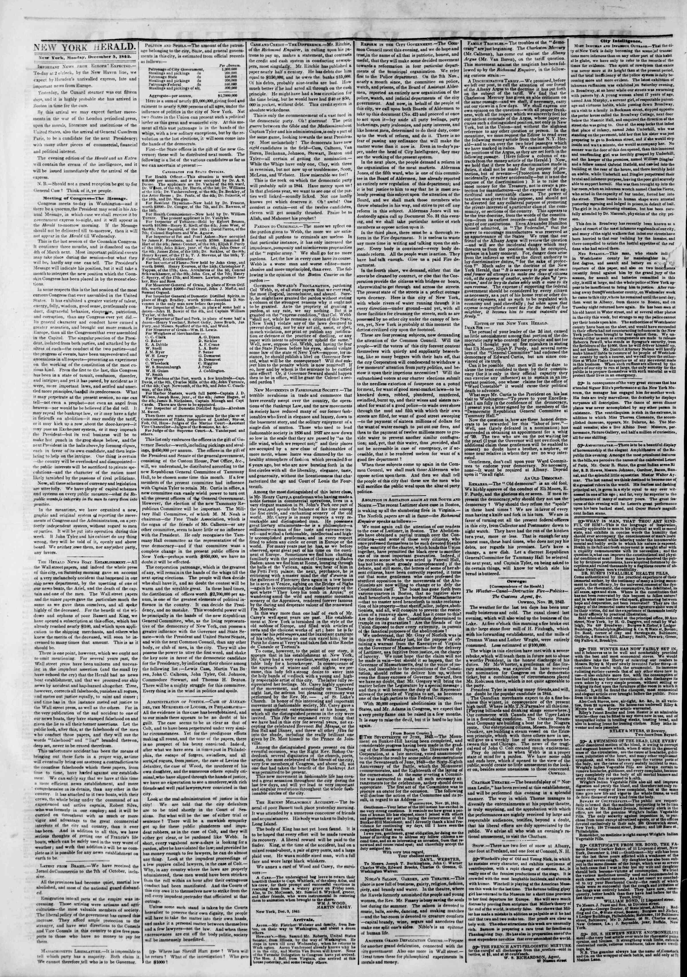 December 5, 1842 Tarihli The New York Herald Gazetesi Sayfa 2