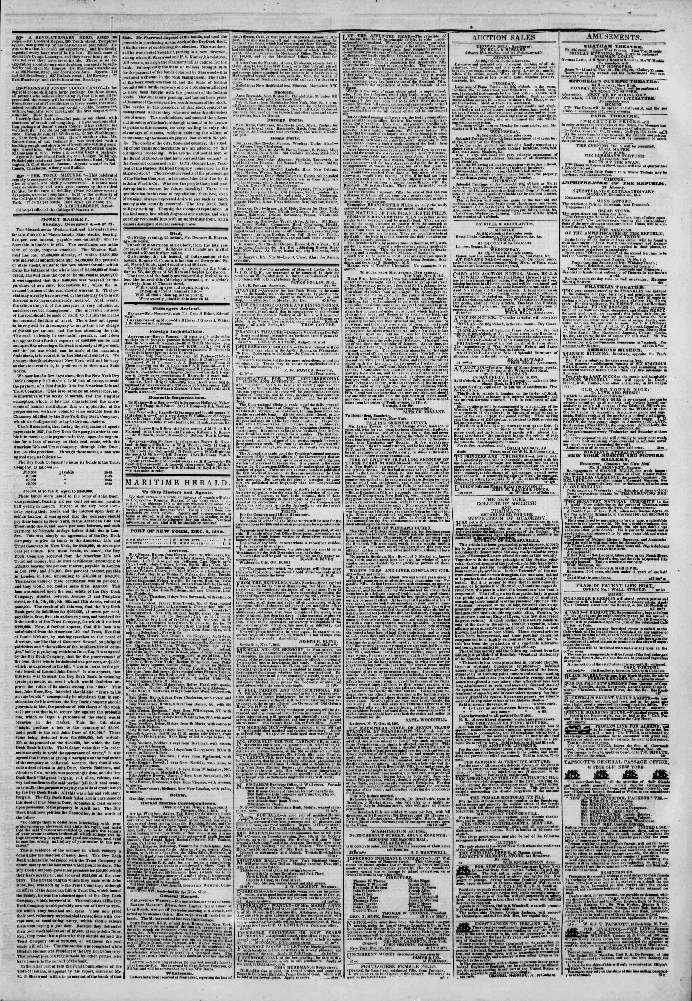 Newspaper of The New York Herald dated December 5, 1842 Page 3