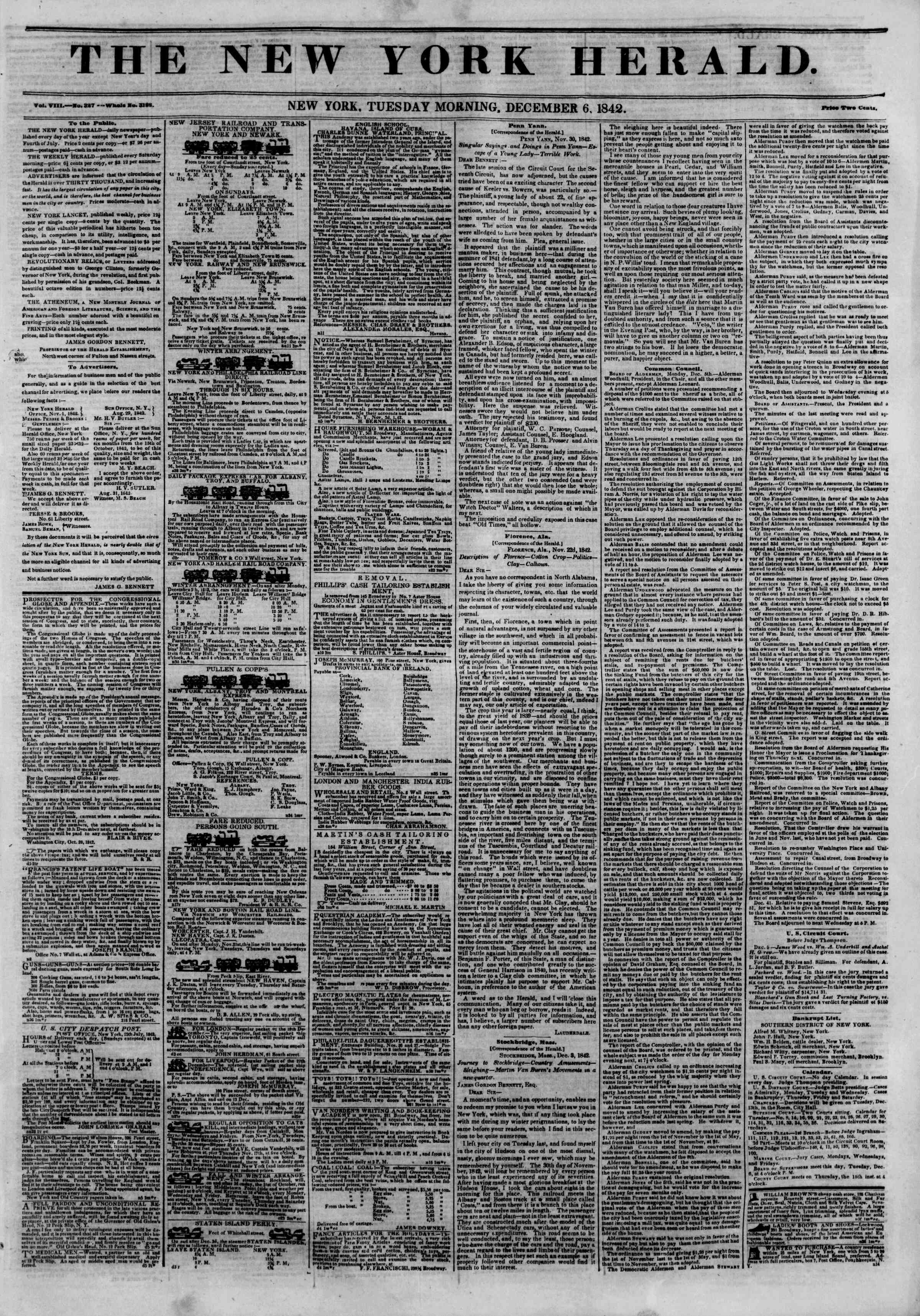 Newspaper of The New York Herald dated December 6, 1842 Page 1