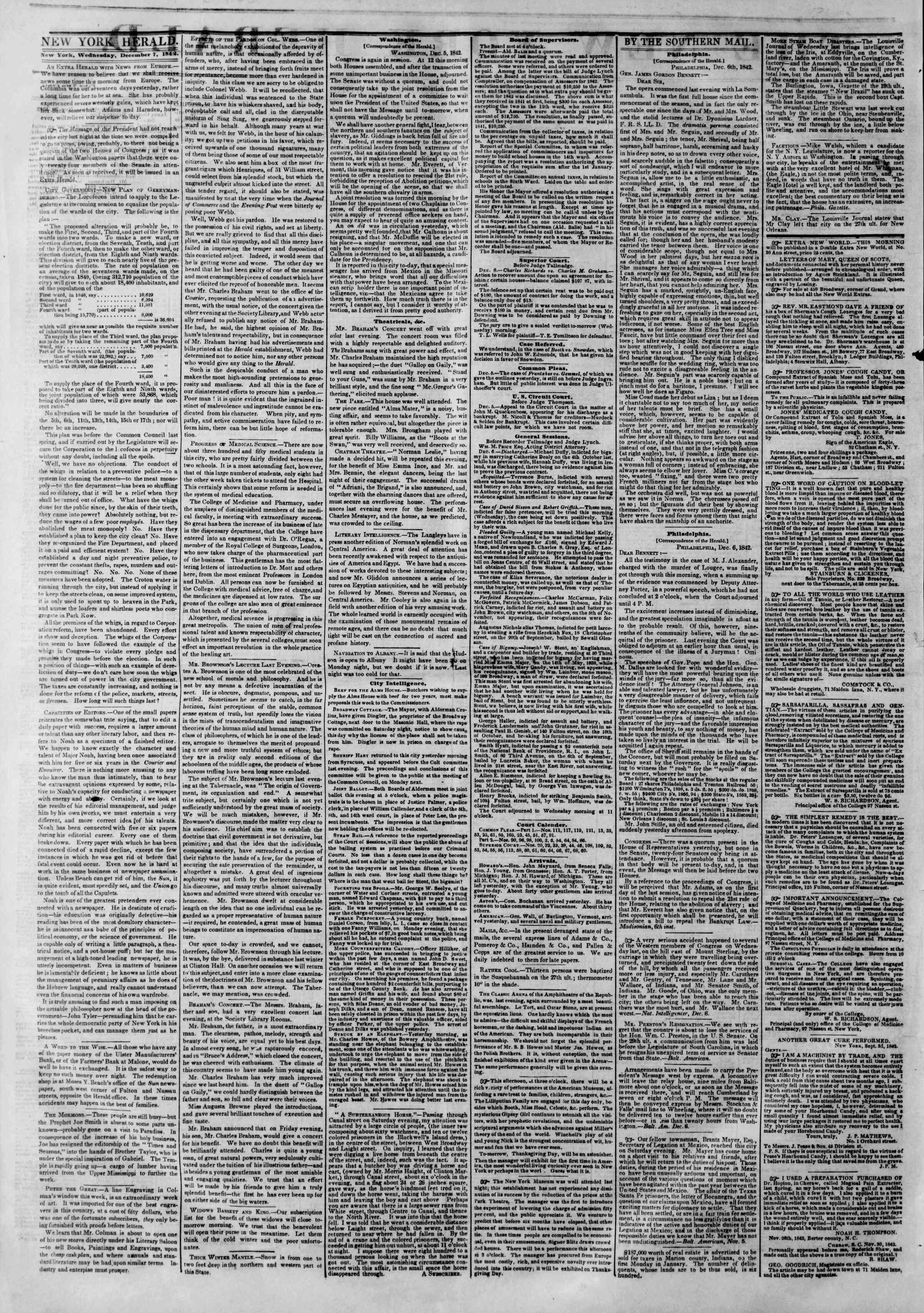 December 7, 1842 Tarihli The New York Herald Gazetesi Sayfa 2