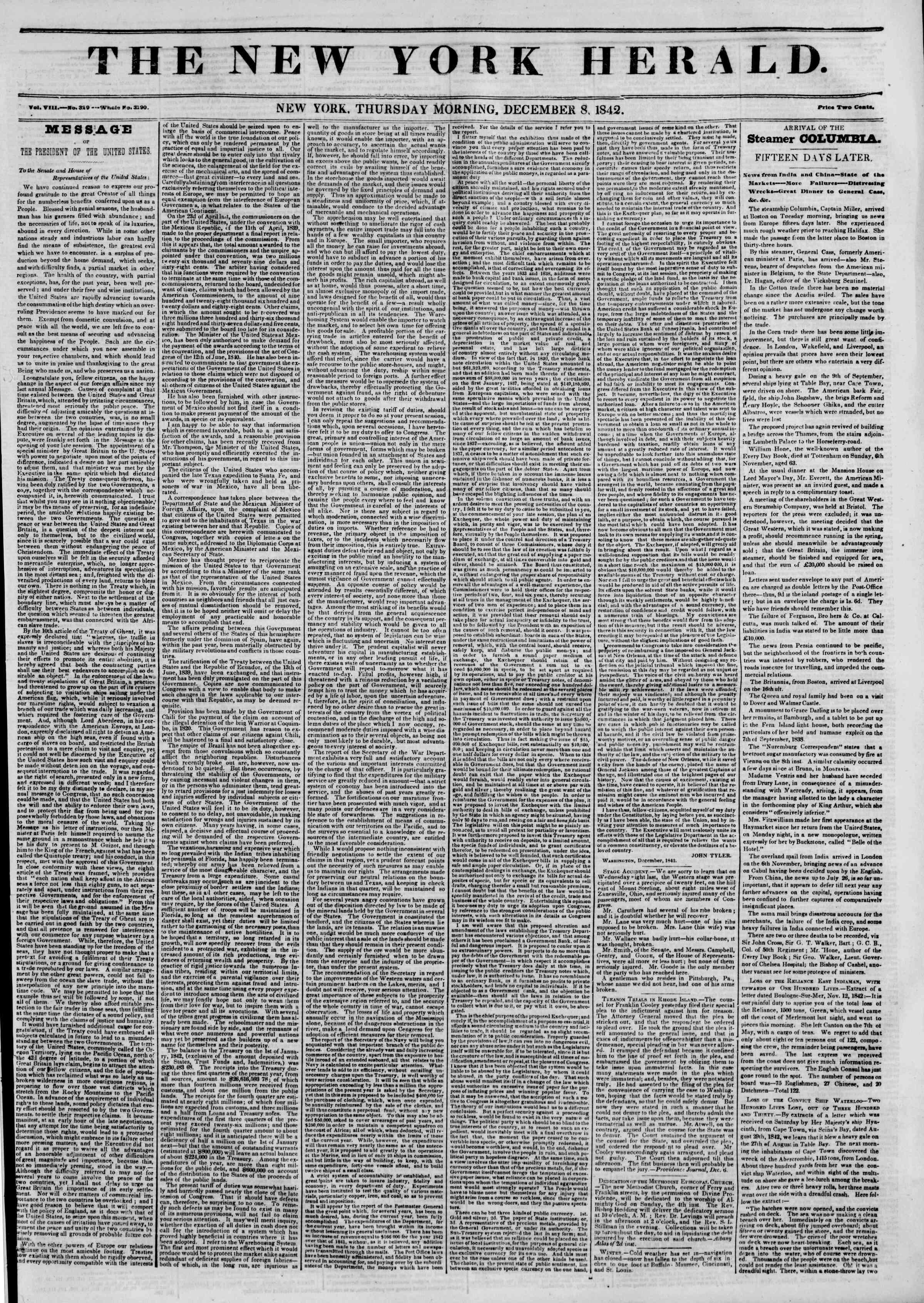 8 Aralık 1842 tarihli The New York Herald Gazetesi Sayfa 1