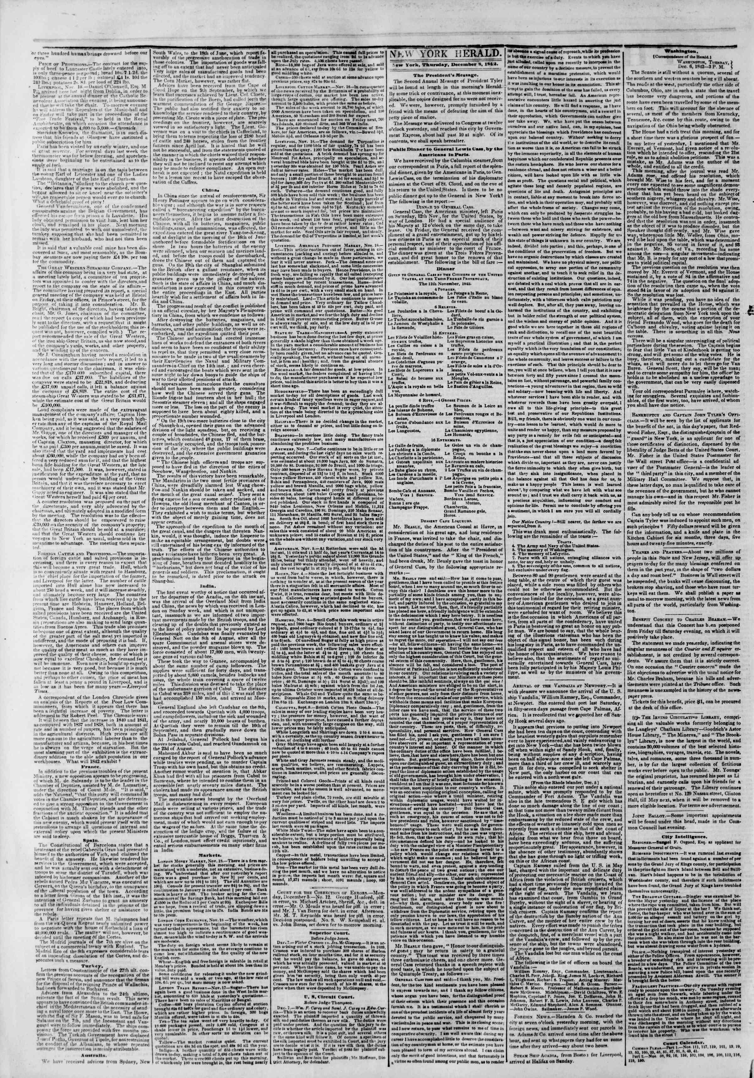 December 8, 1842 Tarihli The New York Herald Gazetesi Sayfa 2