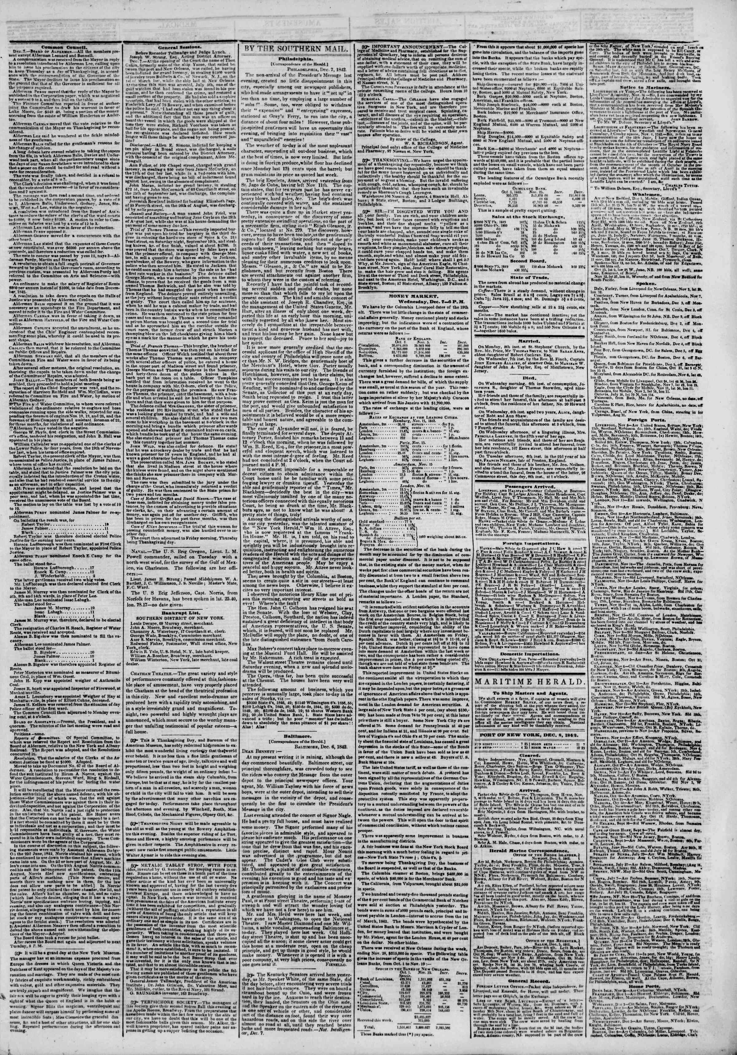 Newspaper of The New York Herald dated December 8, 1842 Page 3