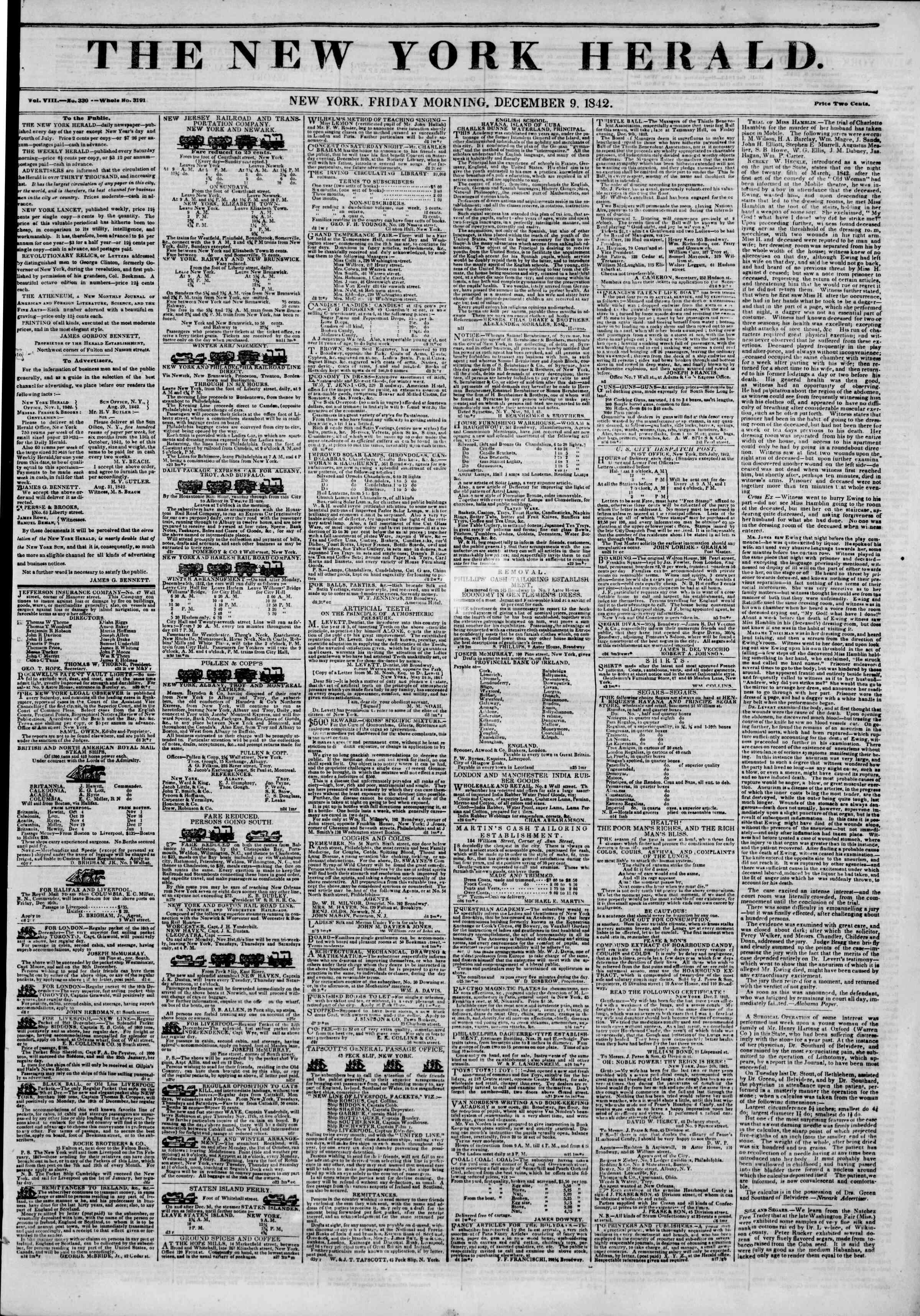 December 9, 1842 Tarihli The New York Herald Gazetesi Sayfa 1