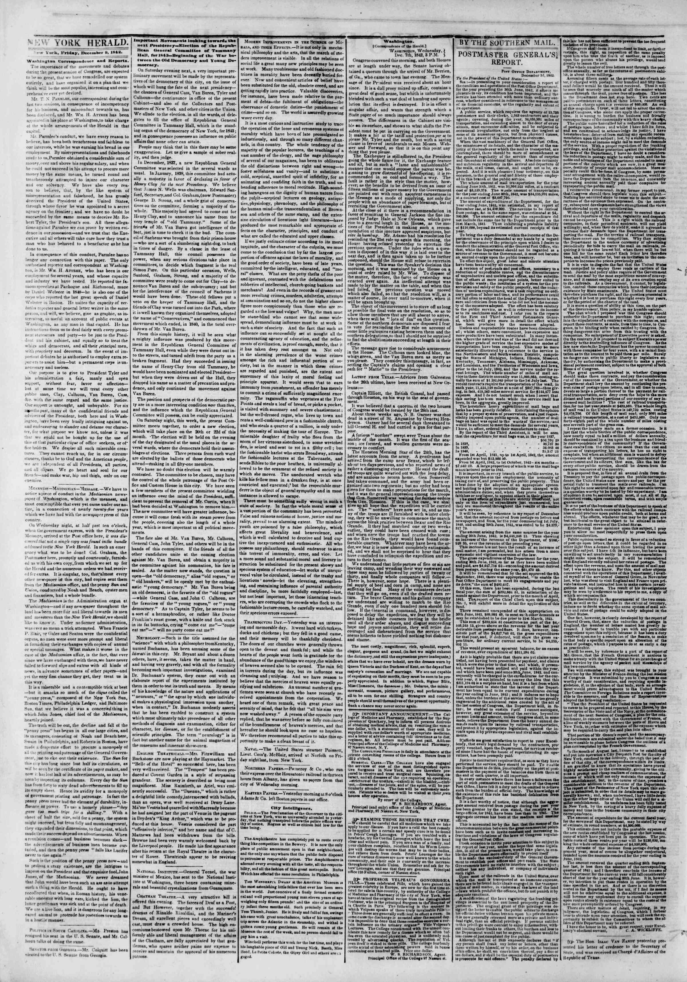 Newspaper of The New York Herald dated December 9, 1842 Page 2