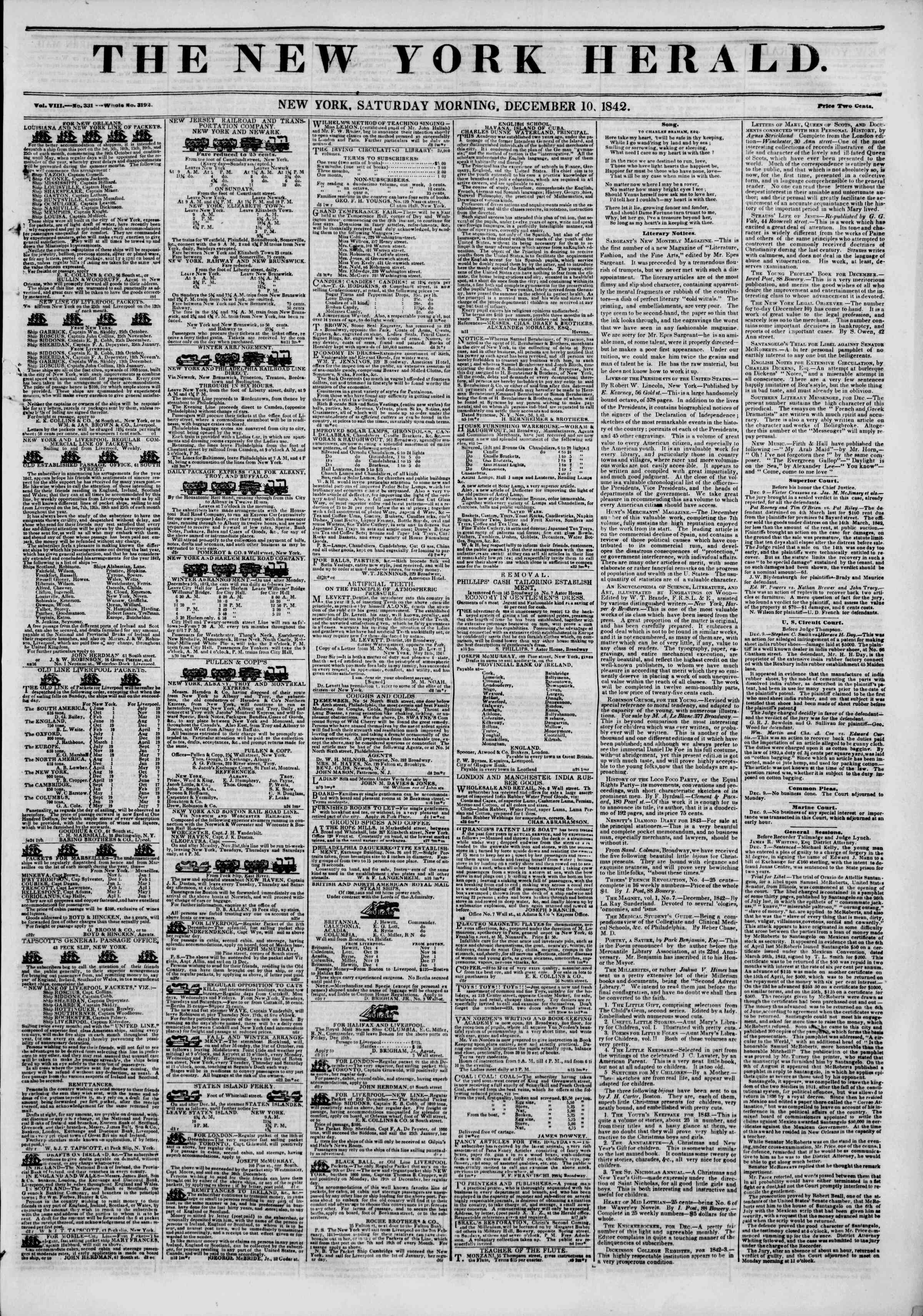 December 10, 1842 Tarihli The New York Herald Gazetesi Sayfa 1