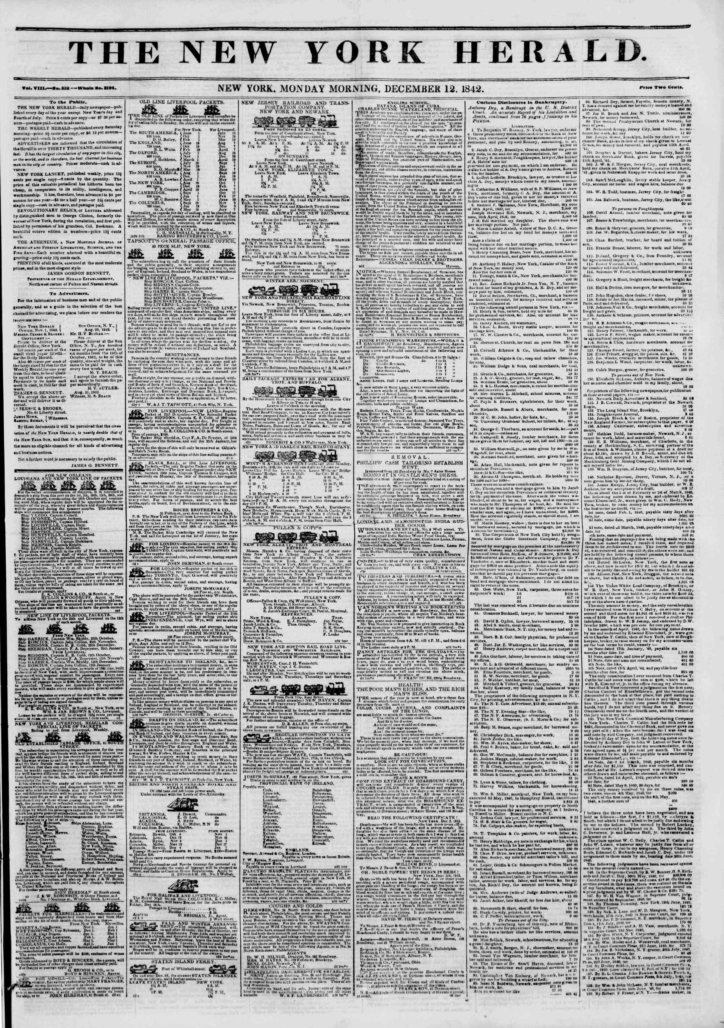 Newspaper of The New York Herald dated December 12, 1842 Page 1