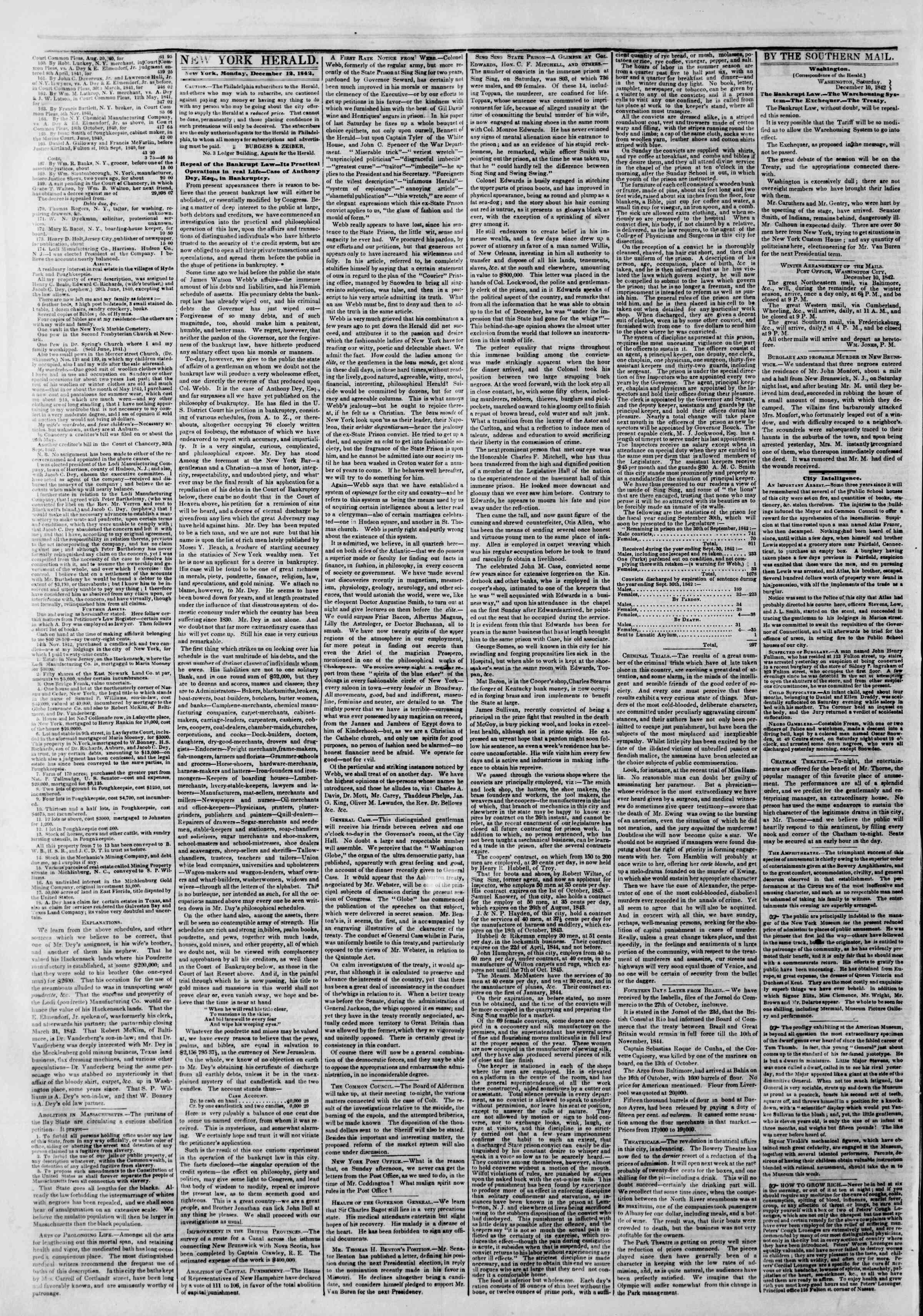 December 12, 1842 Tarihli The New York Herald Gazetesi Sayfa 2