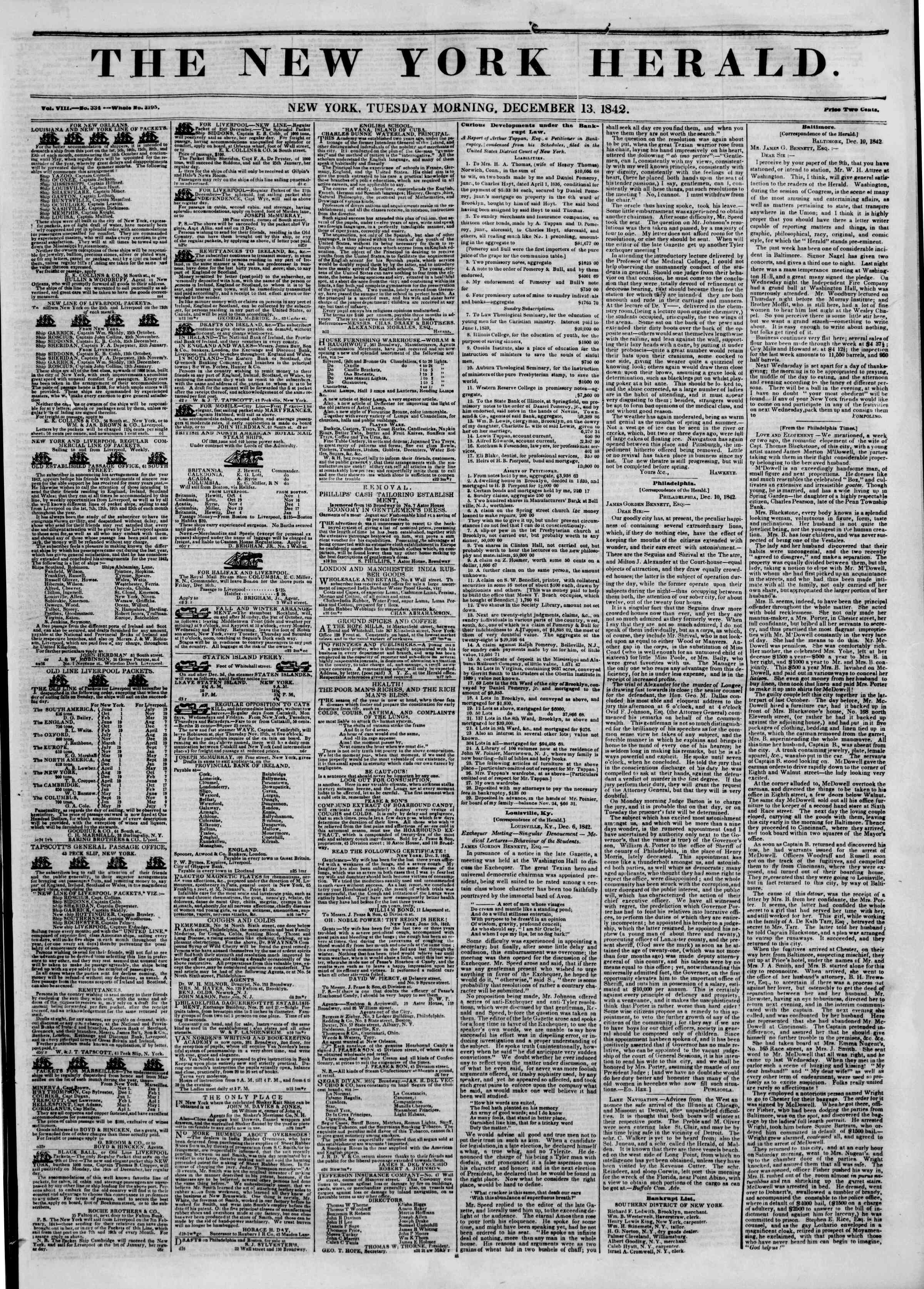 December 13, 1842 Tarihli The New York Herald Gazetesi Sayfa 1