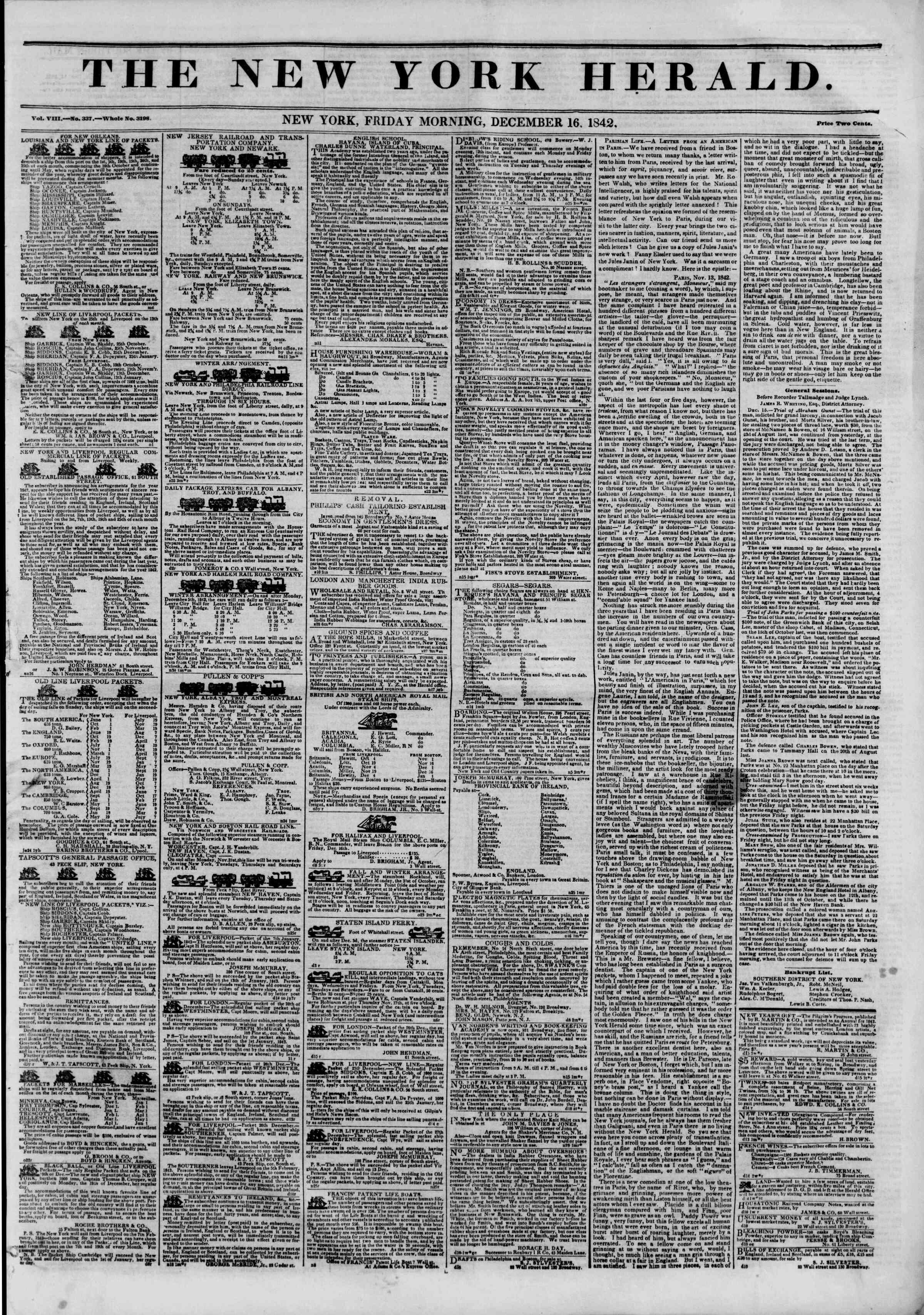 December 16, 1842 Tarihli The New York Herald Gazetesi Sayfa 1