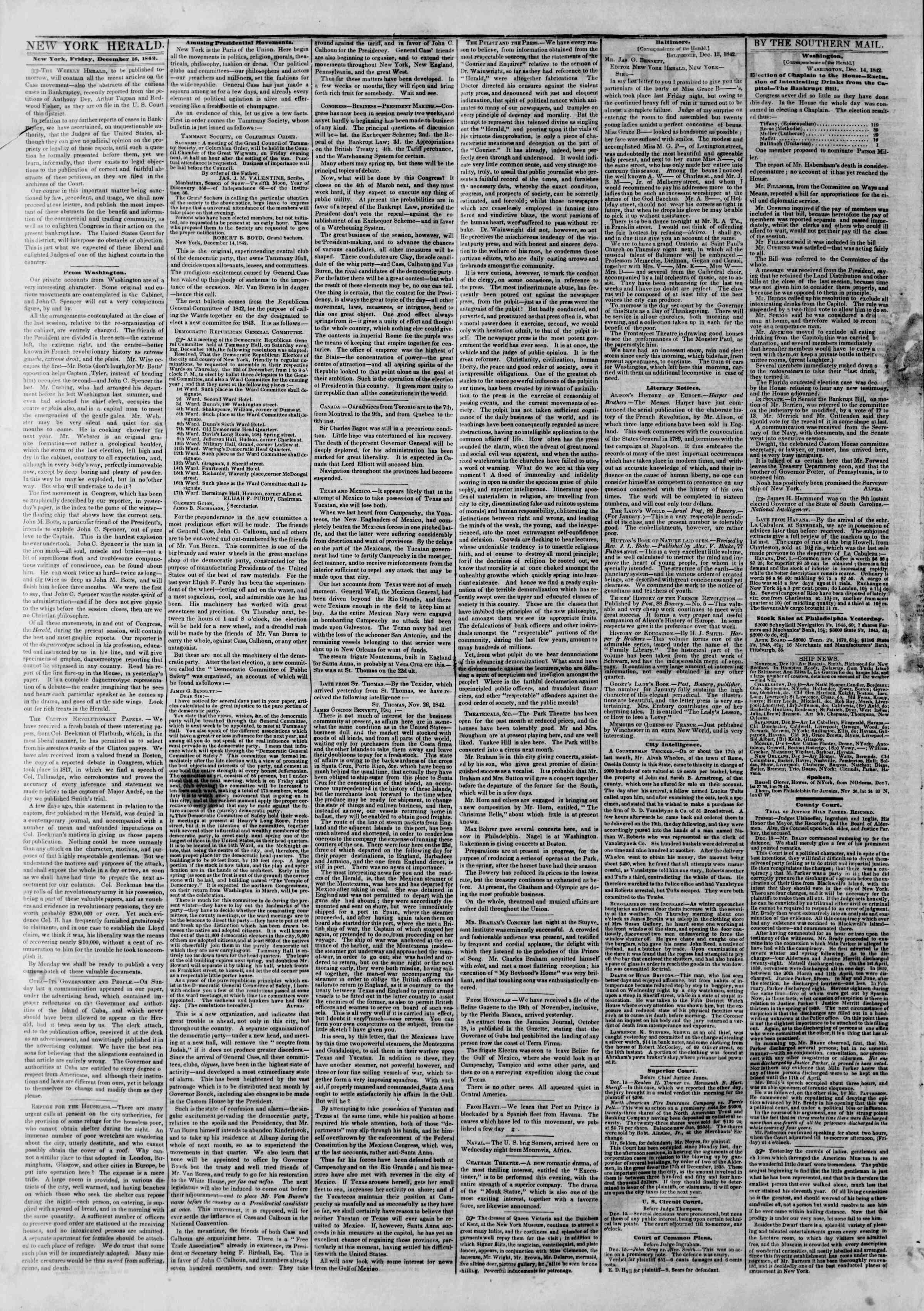December 16, 1842 Tarihli The New York Herald Gazetesi Sayfa 2