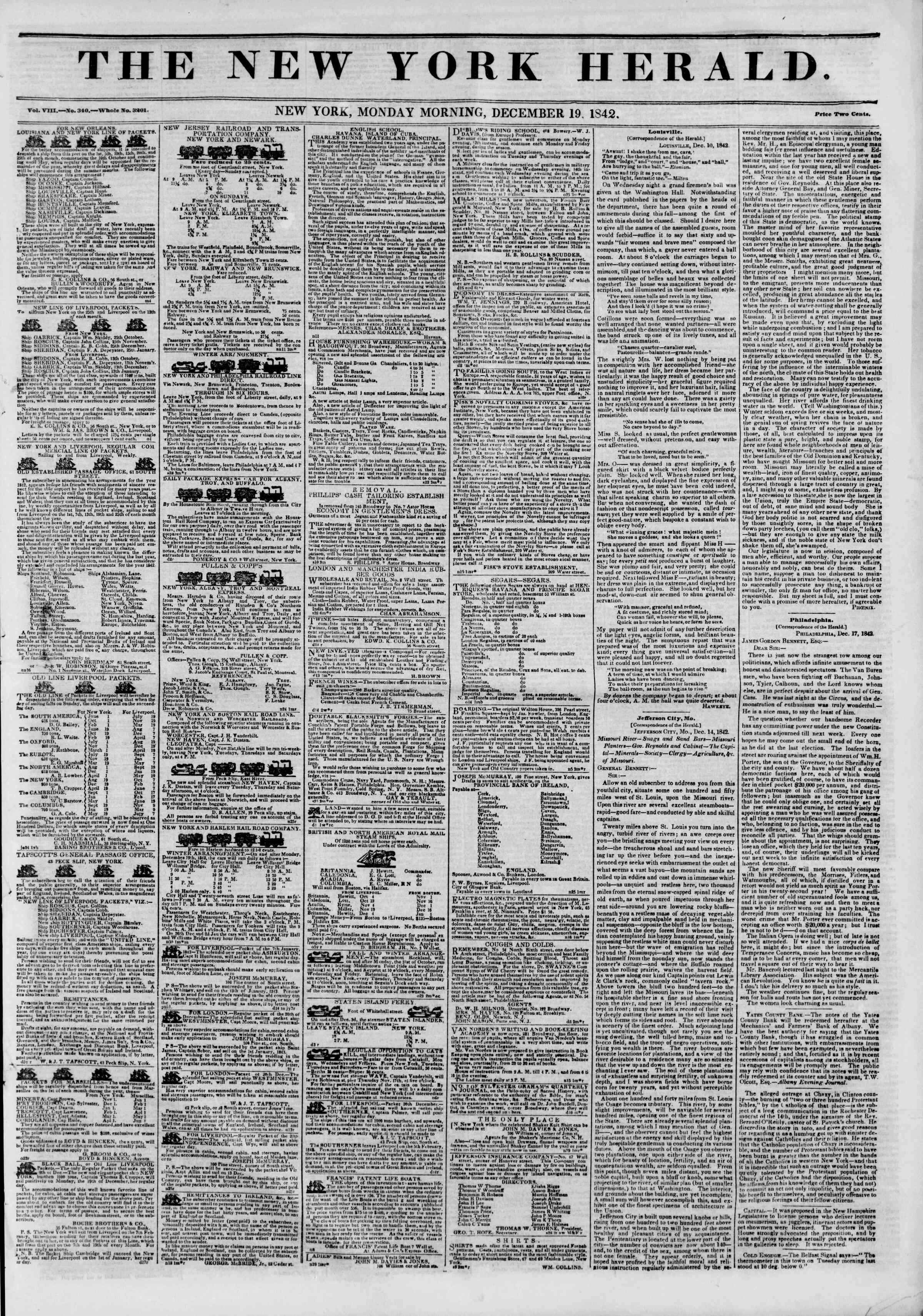 Newspaper of The New York Herald dated December 19, 1842 Page 1