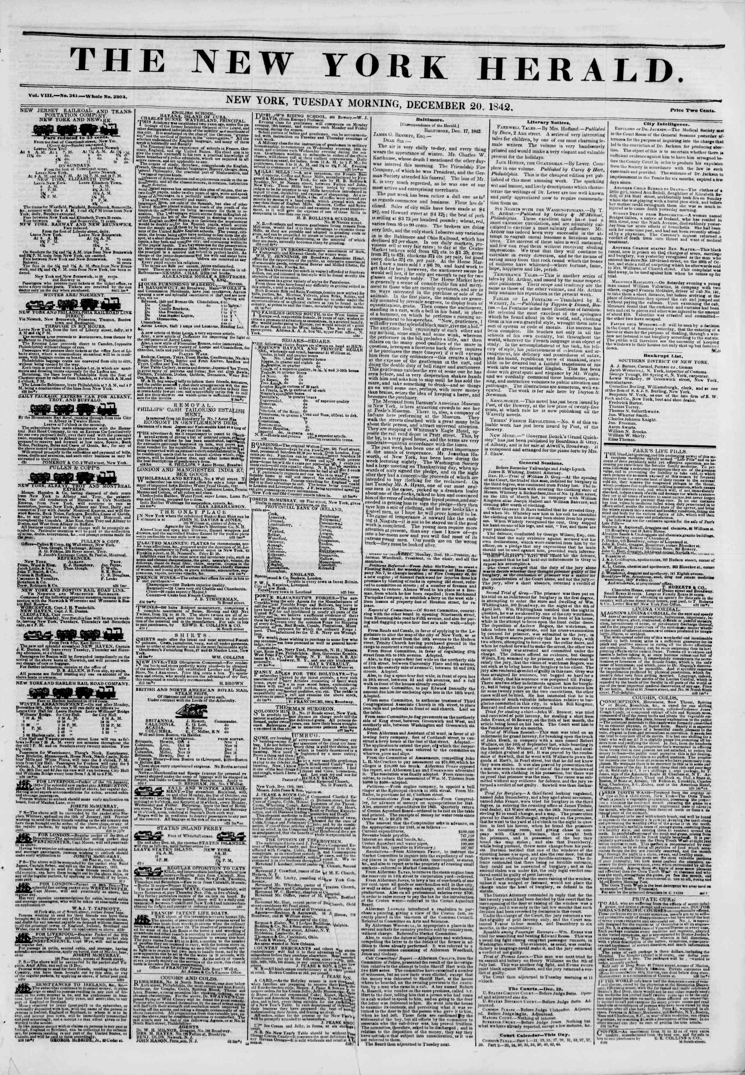Newspaper of The New York Herald dated December 20, 1842 Page 1