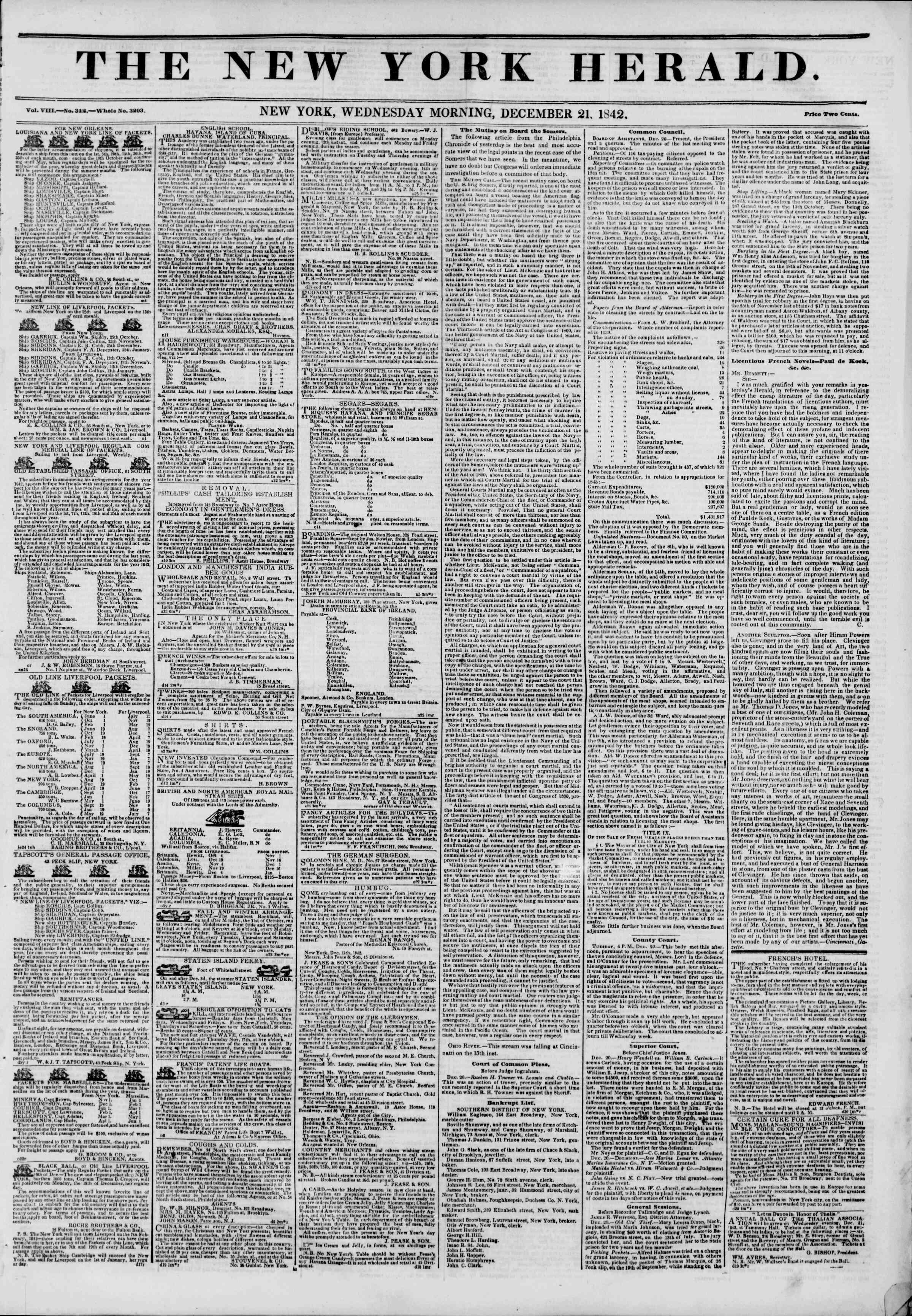 December 21, 1842 Tarihli The New York Herald Gazetesi Sayfa 1