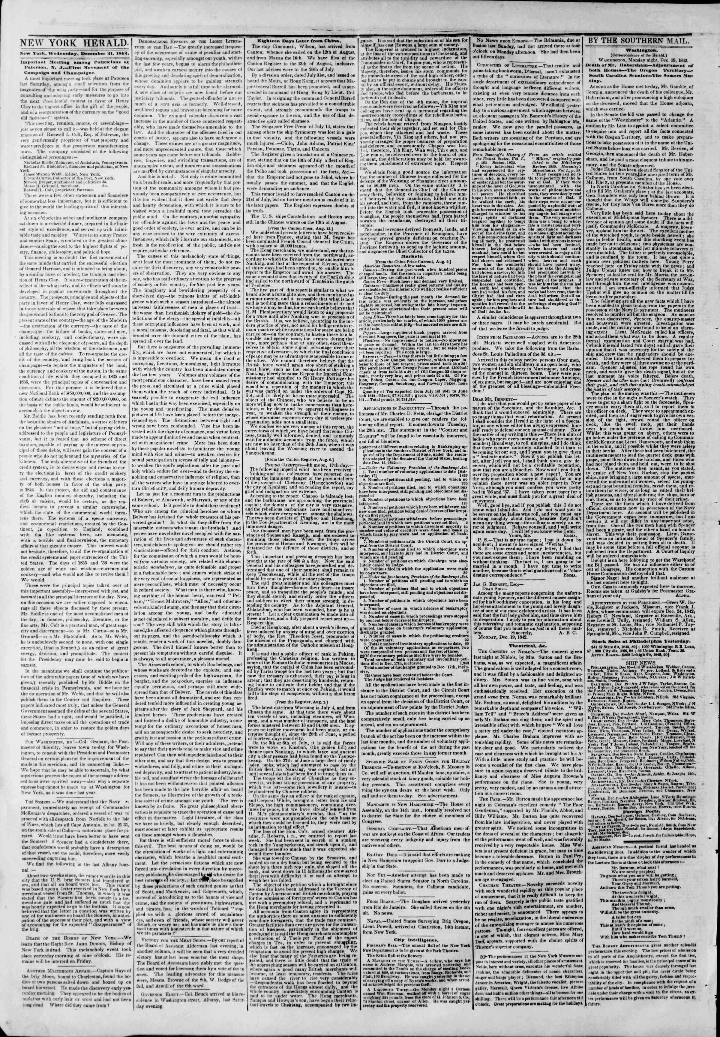 Newspaper of The New York Herald dated December 21, 1842 Page 2
